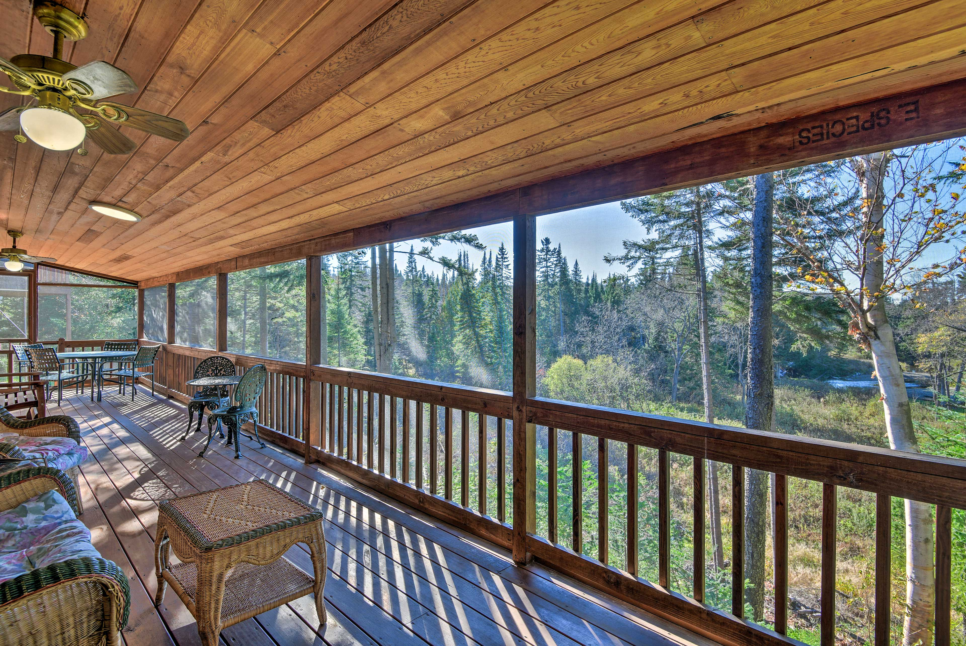 Spend a sunny afternoon on the screened-in porch.