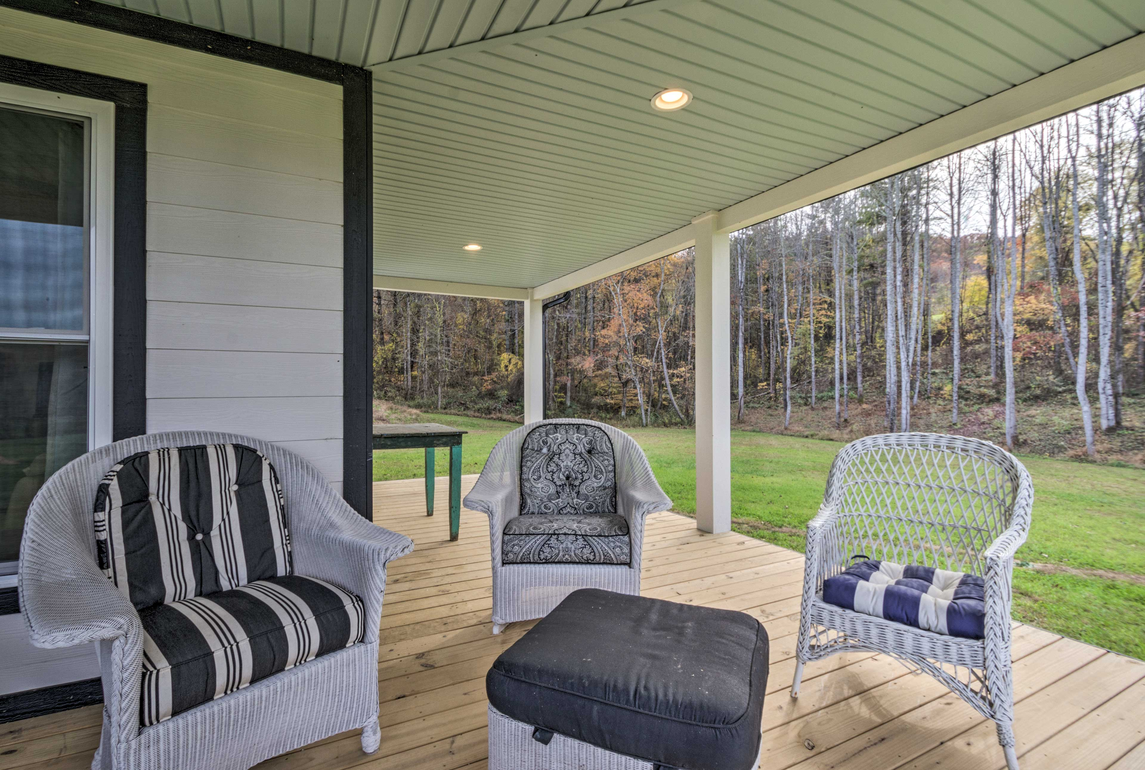 Grab a breath of fresh air on the covered porch.