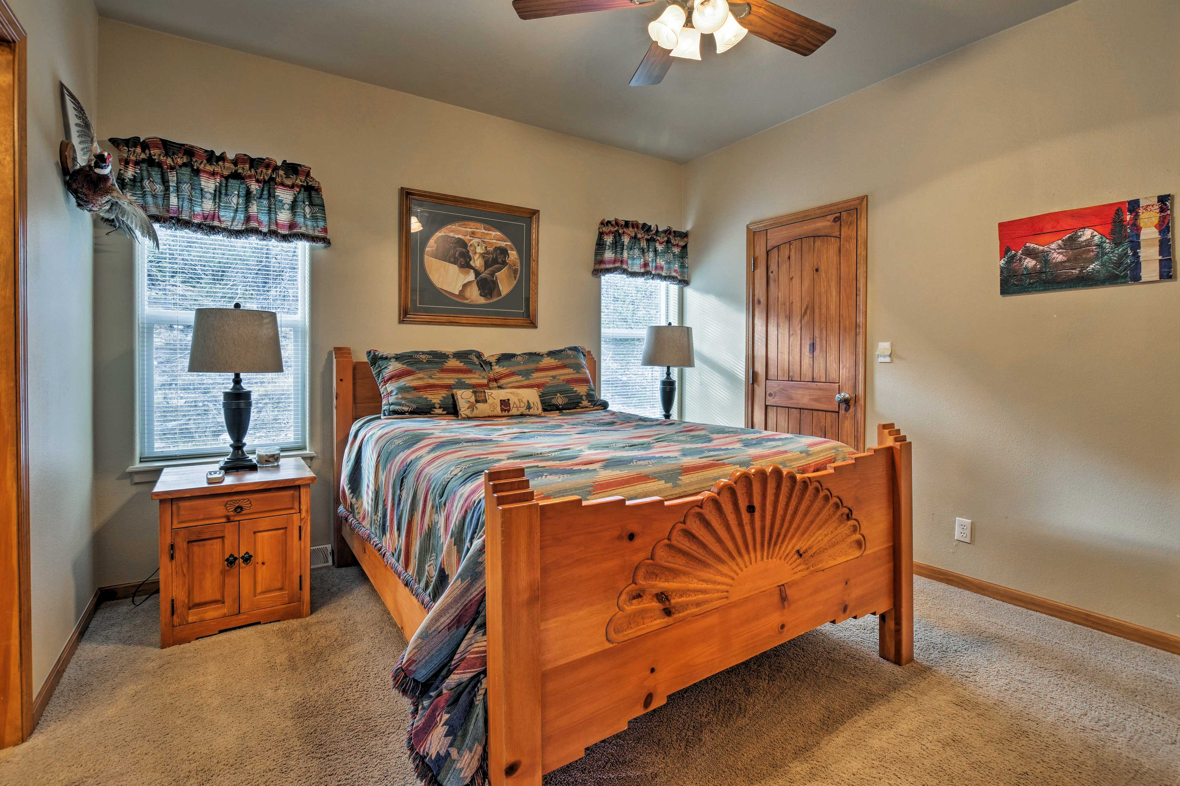 The cabin features 3 full bedrooms and 2 bathrooms.