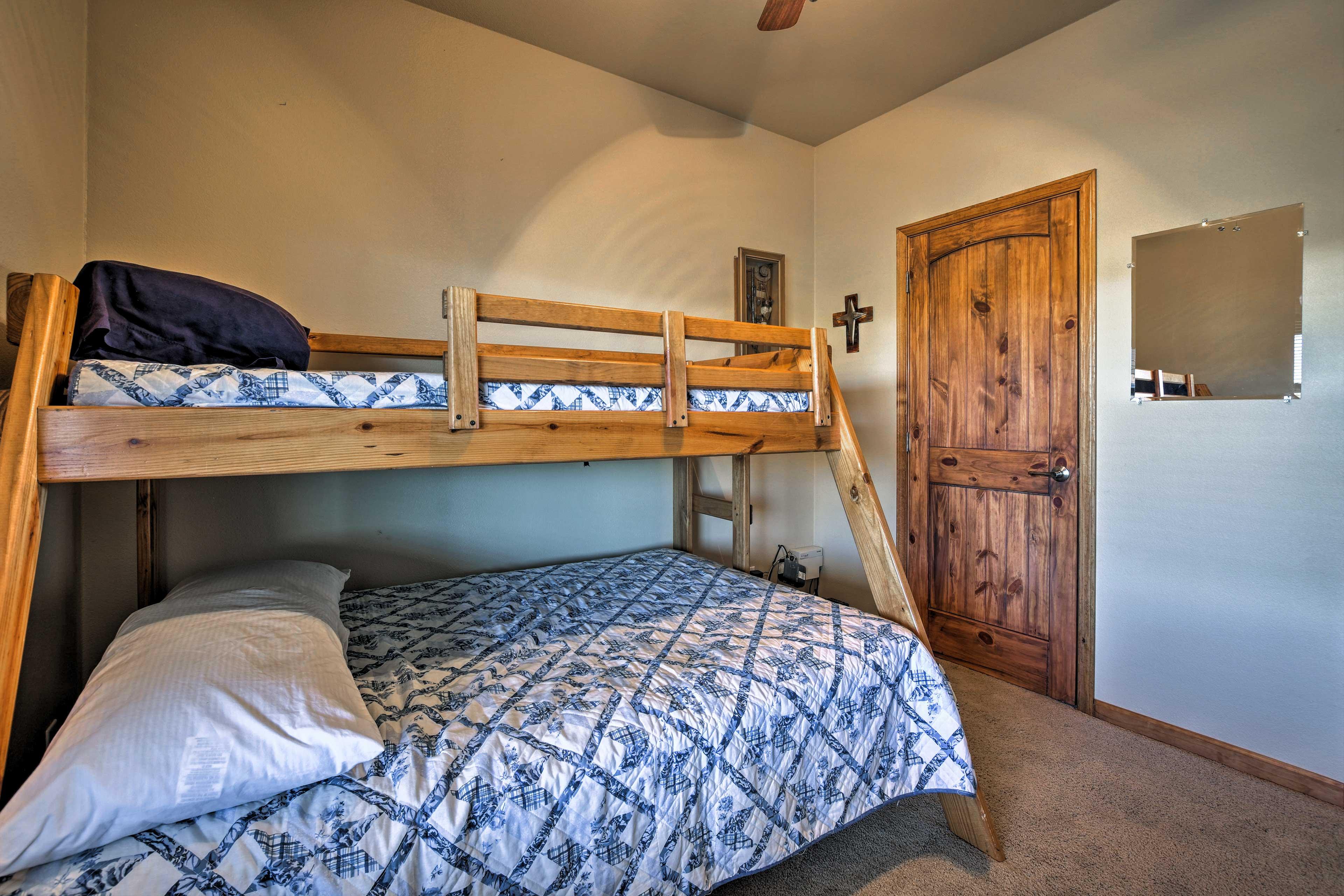 Each guest bedroom sleeps 3 guests.