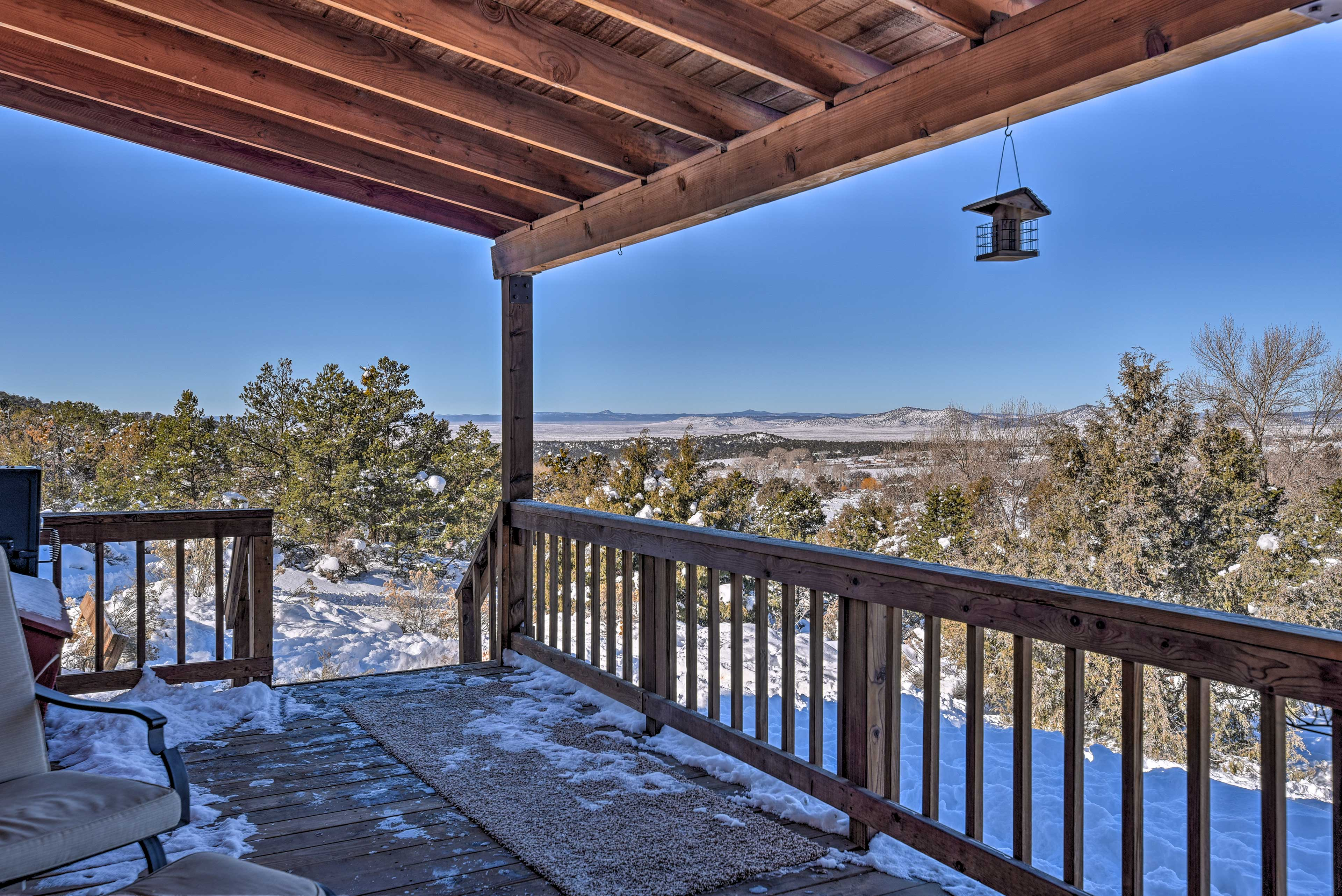 Relax on the patio furniture year-round and enjoy the beautiful New Mexico views.