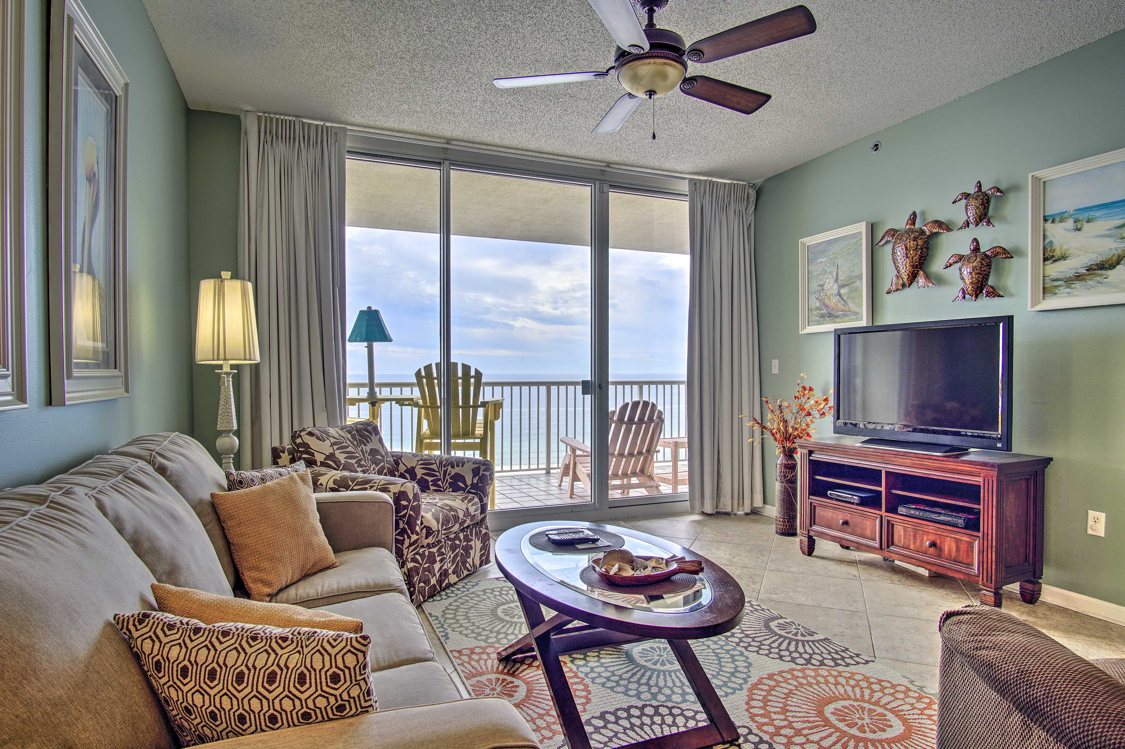 This 2-bedroom, 2-bath vacation rental condo is just steps from the beach.
