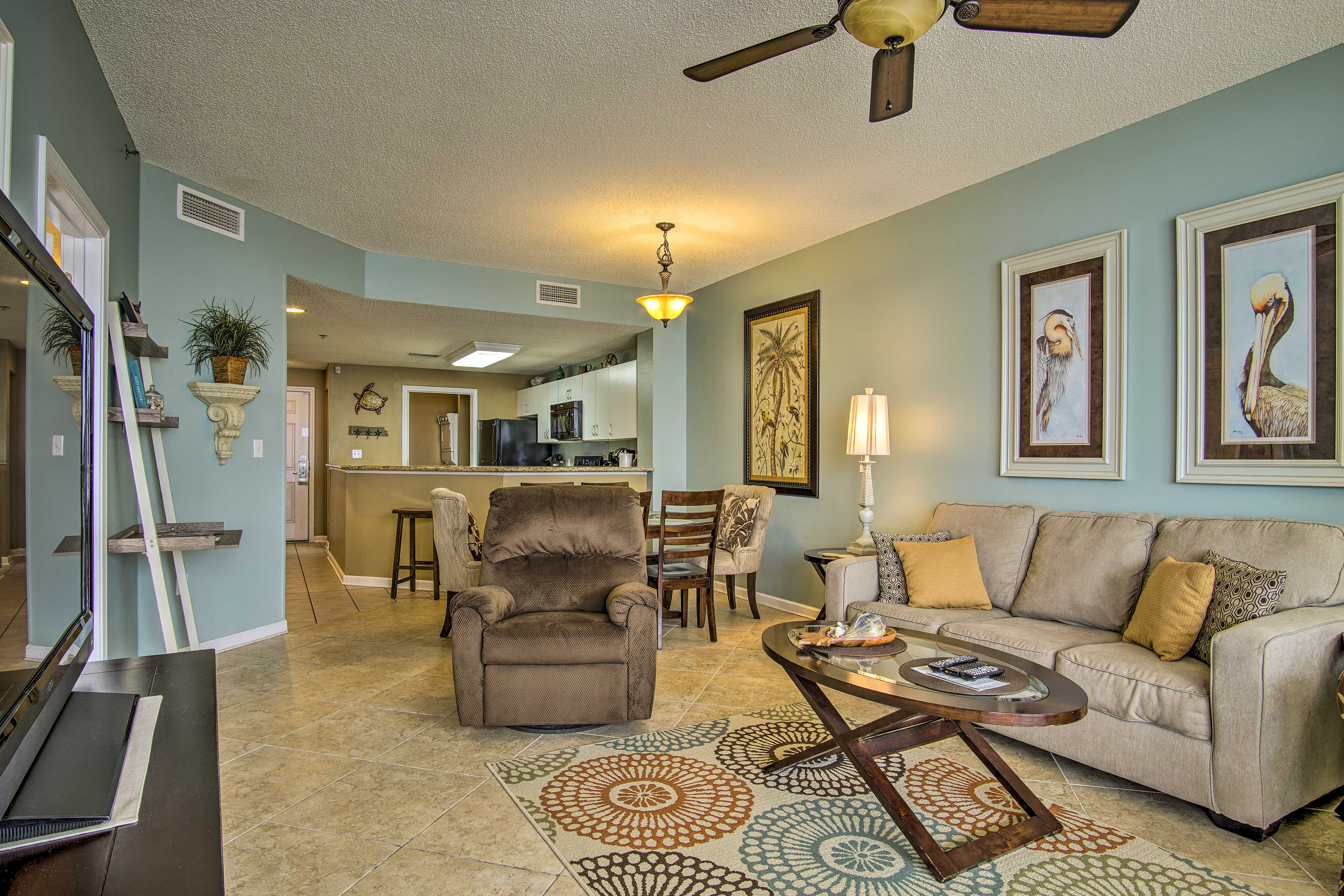 The bright and inviting living space offers 1,041 square feet.