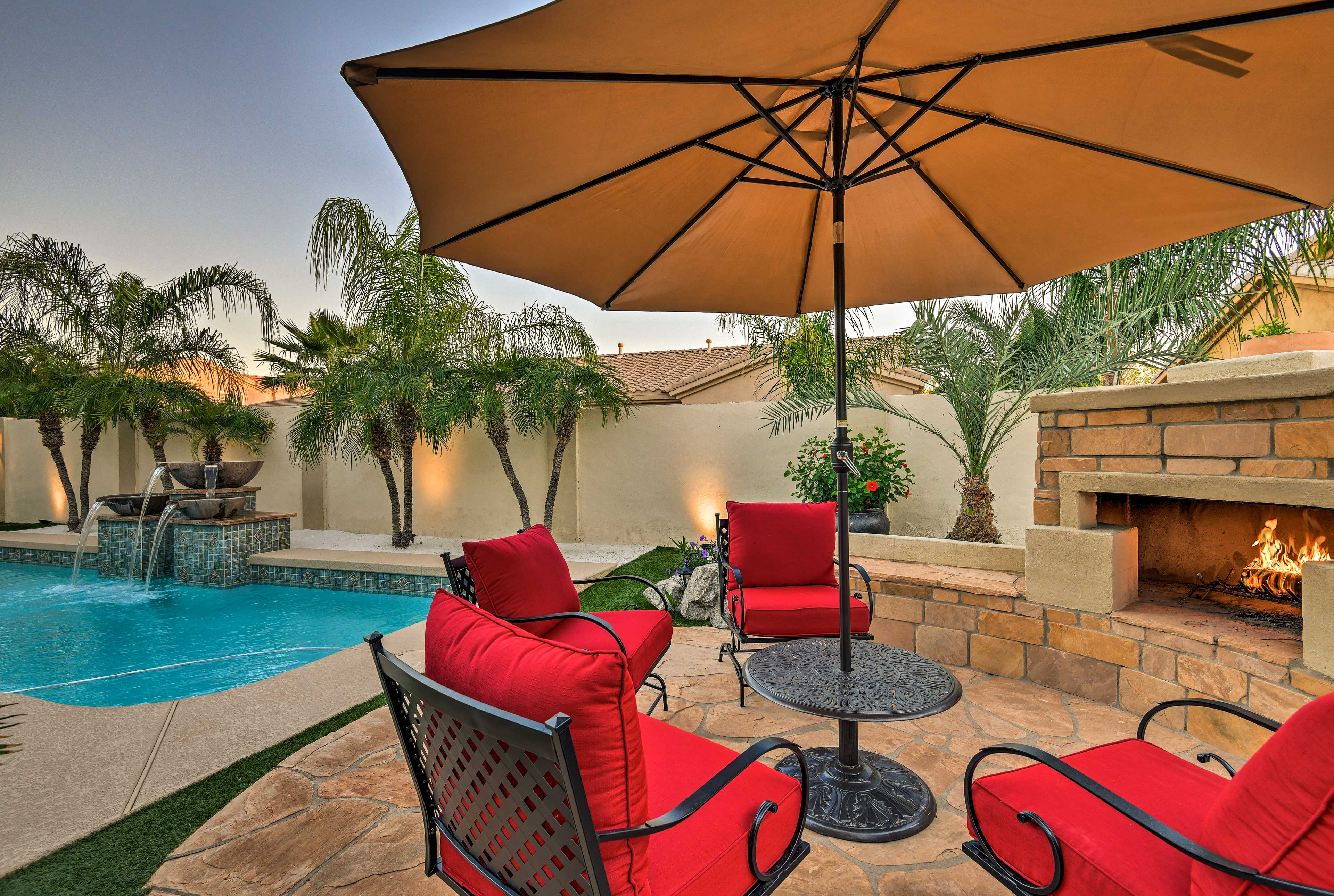 Private Pool   Outdoor Fireplace   Patio
