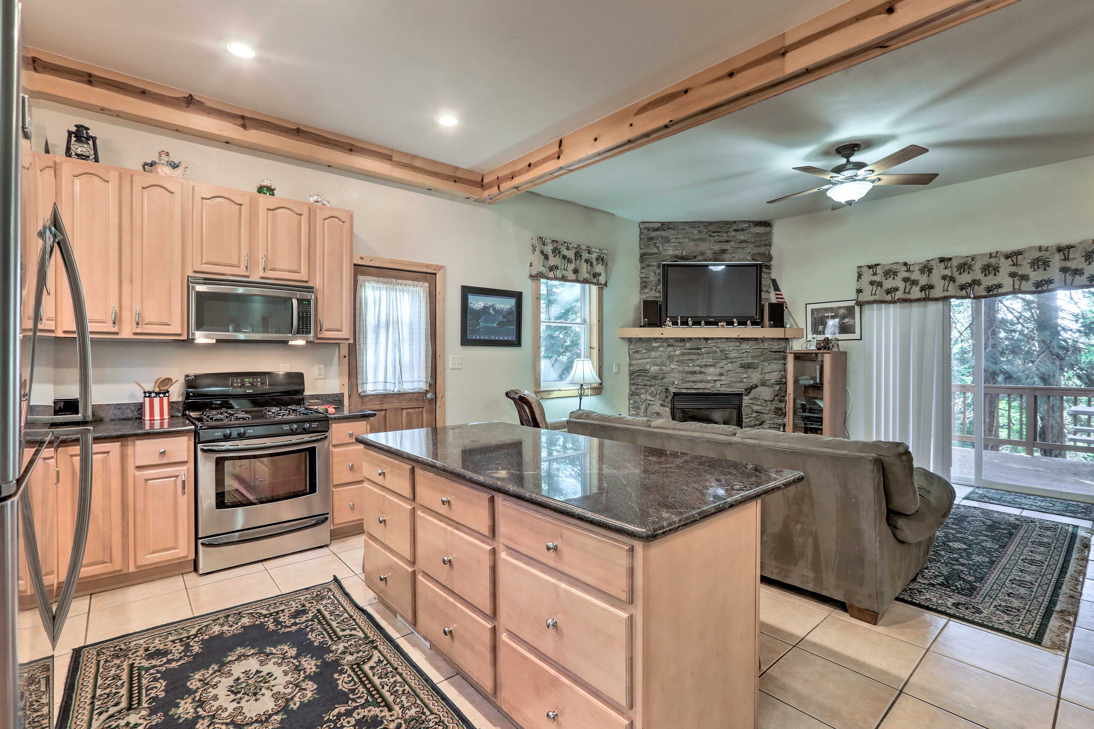 Try out a new recipe in the fully equipped kitchen with granite countertops.