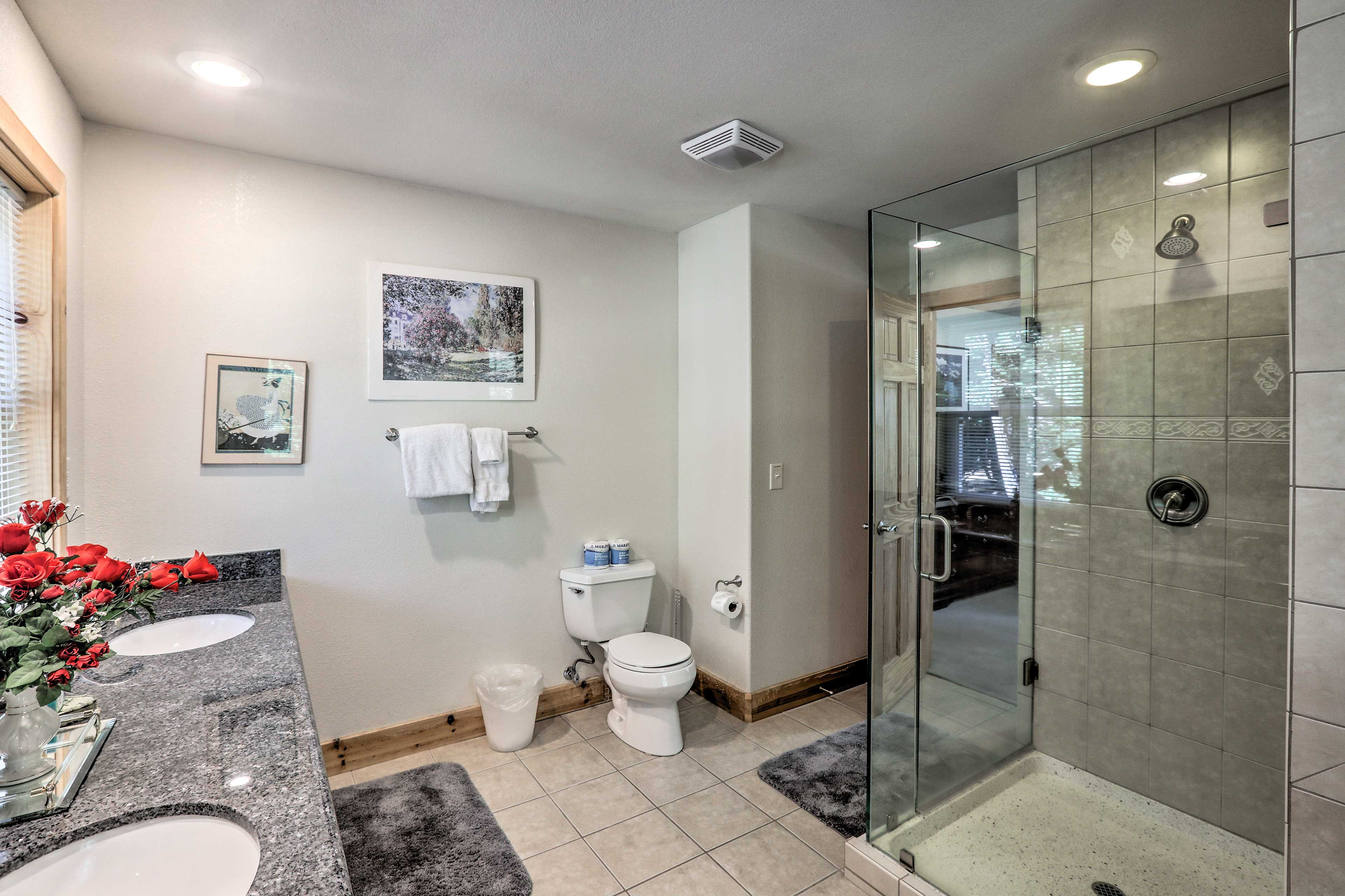 The pristine en-suite bathroom is perfect for rinsing off.