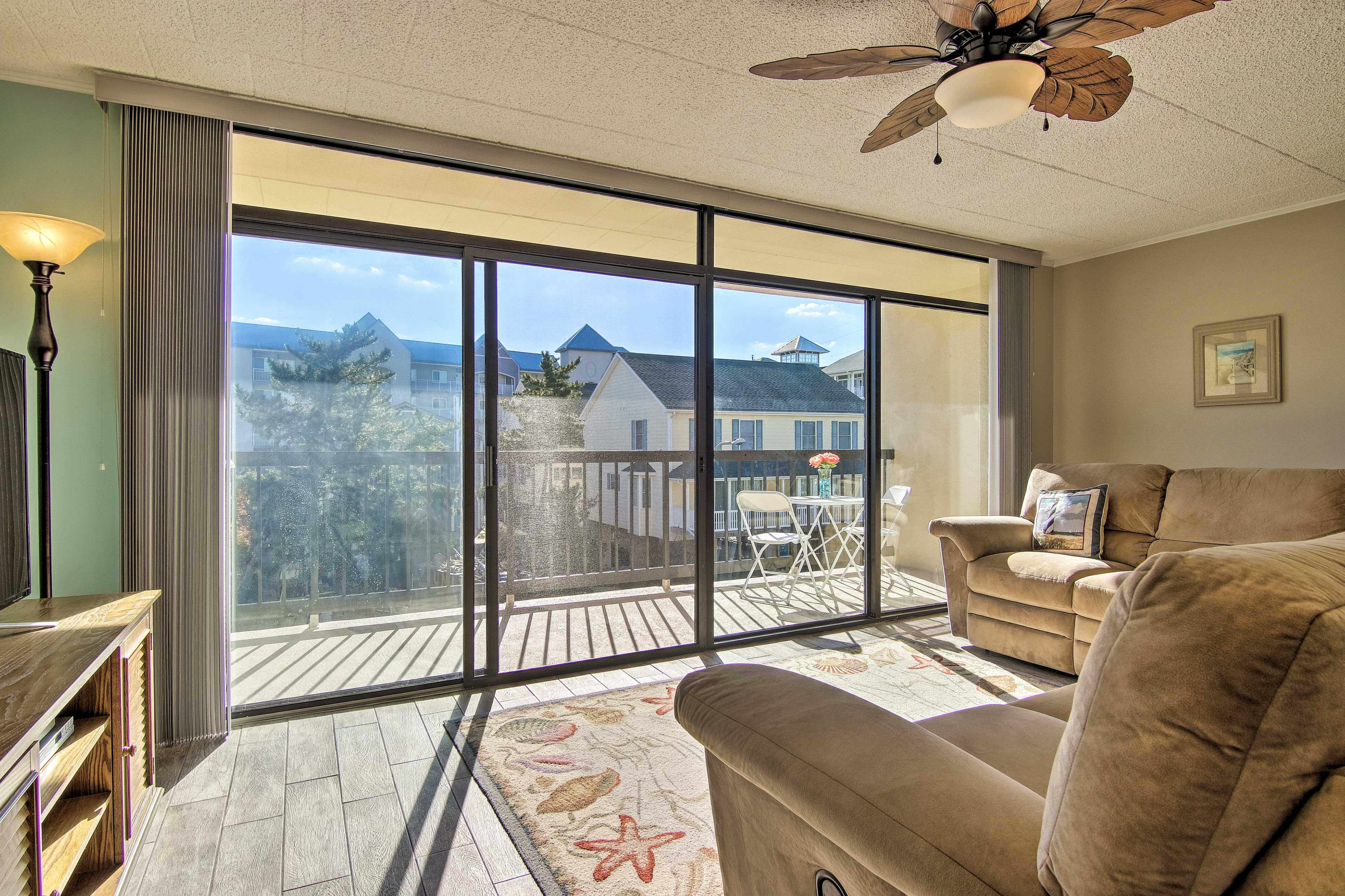 Natural light illuminates the living room!
