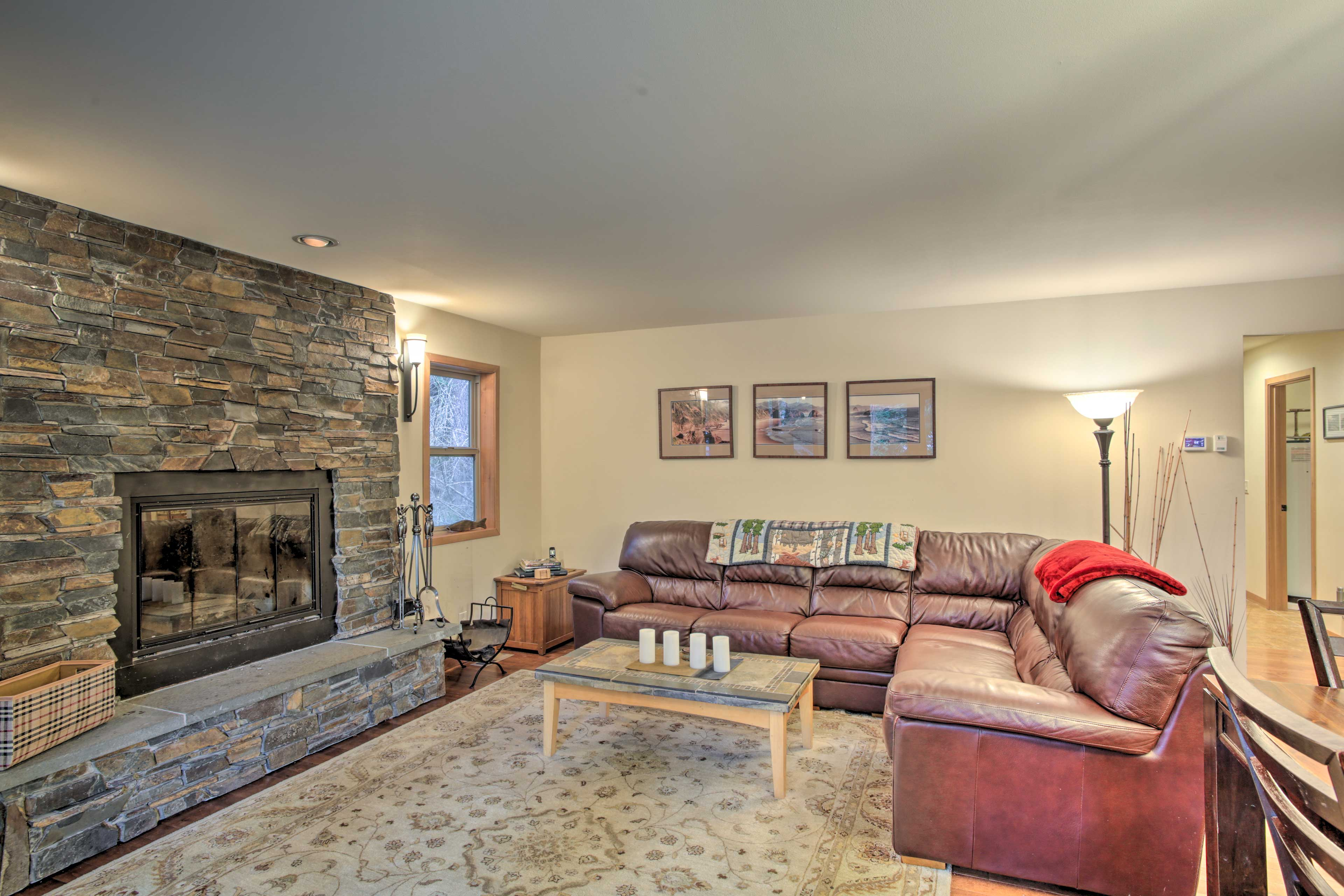Relax in the warmth of the wood-burning fireplace.