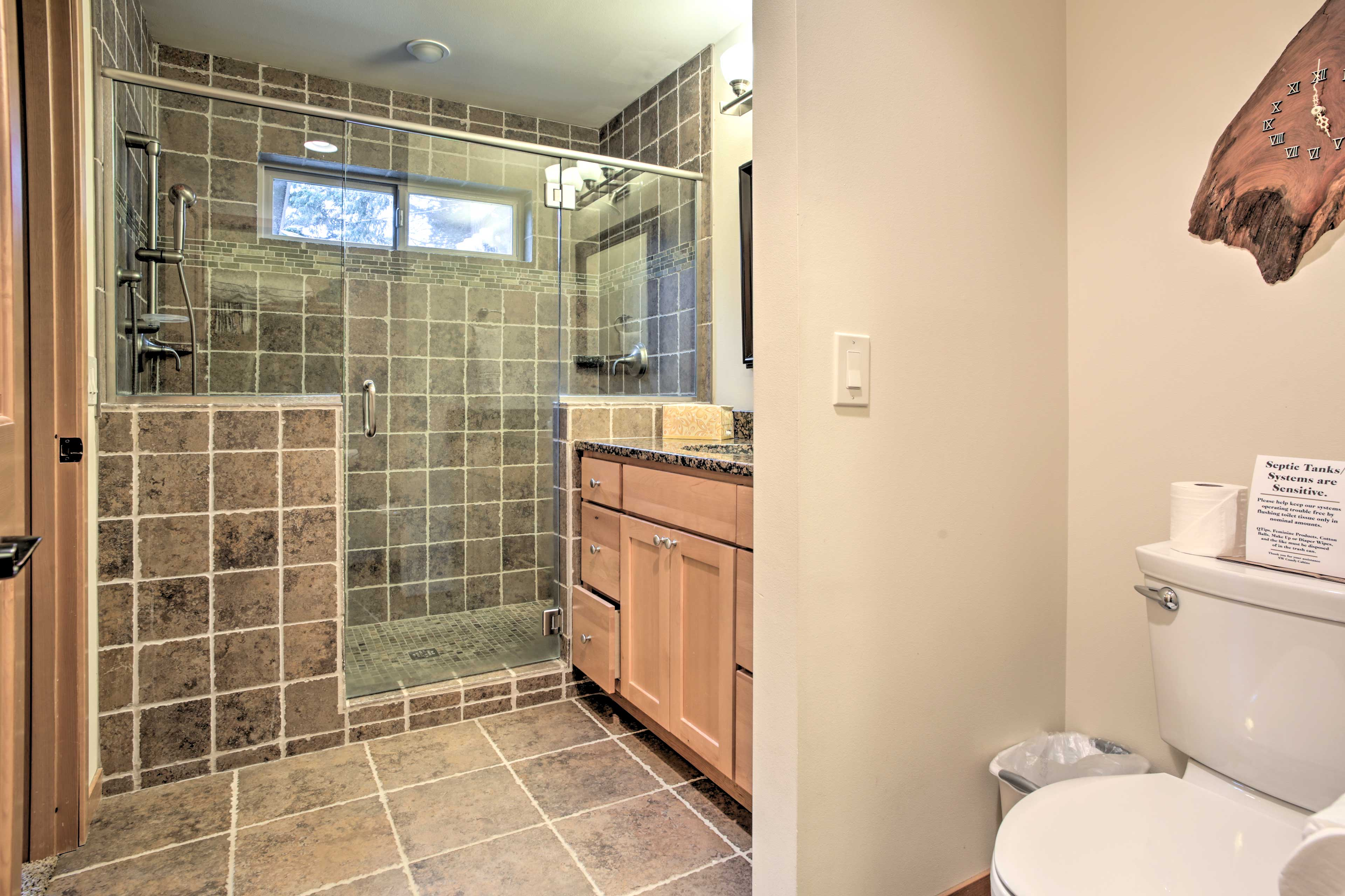 The walk-in shower is sure to impress.