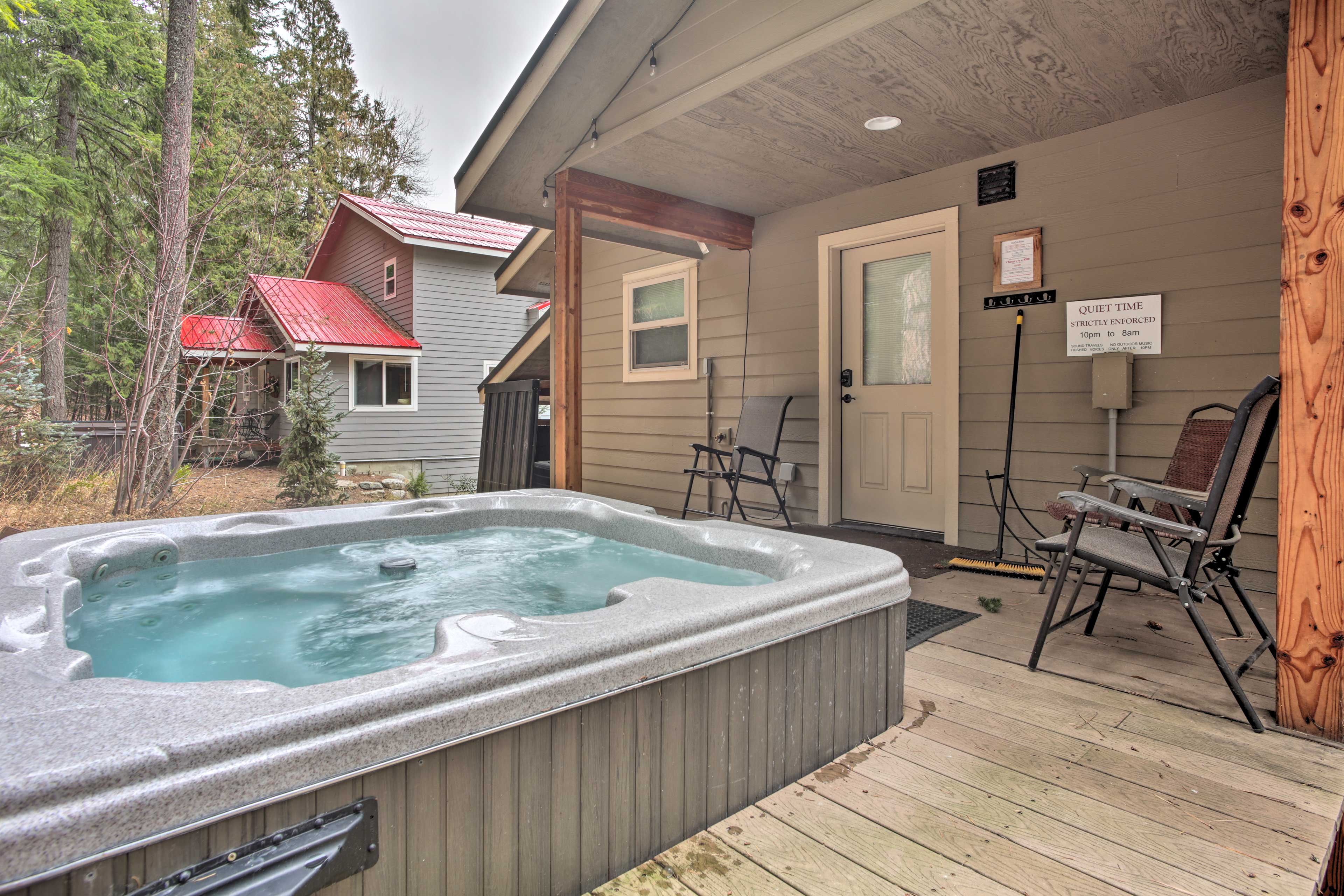 Soak your sore legs in the hot tub.