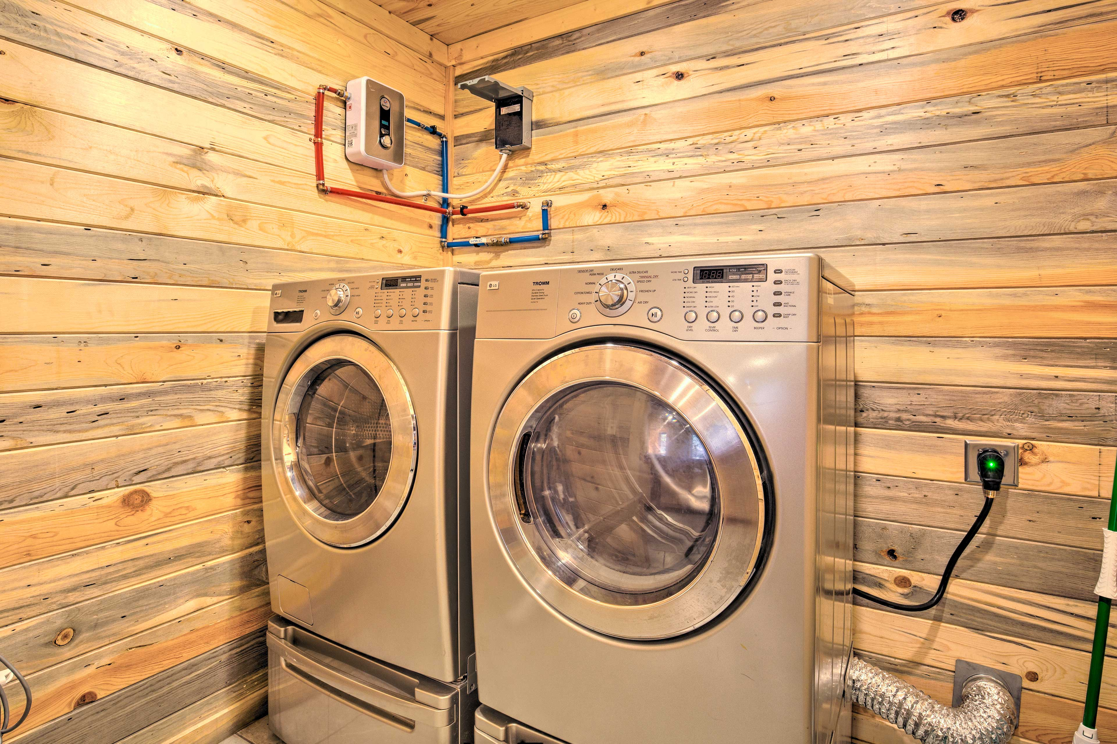 Use the washer and dryer to rinse off your dirty duds.