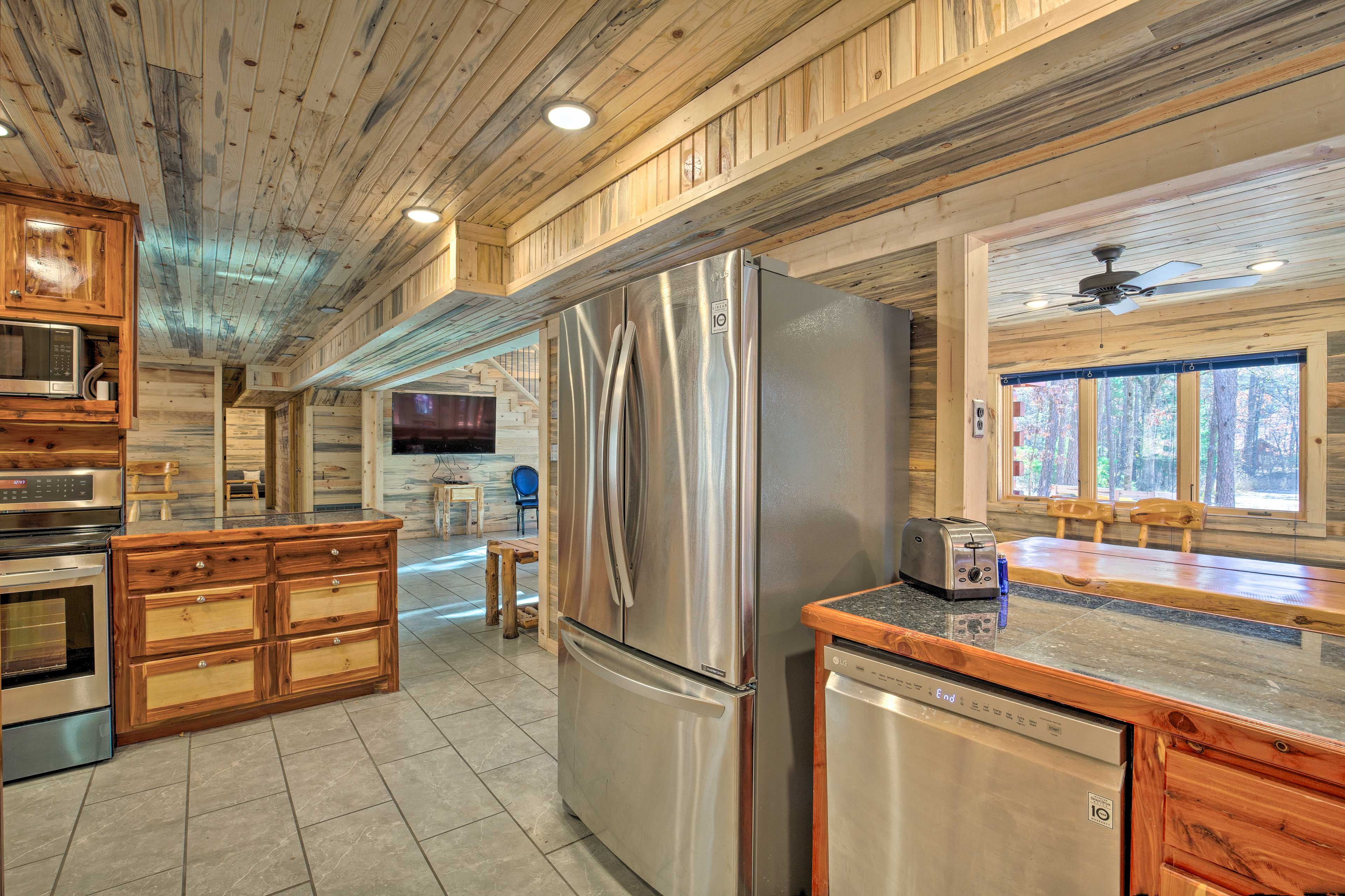 Use stainless steel appliances to cook hearty meals for the group.