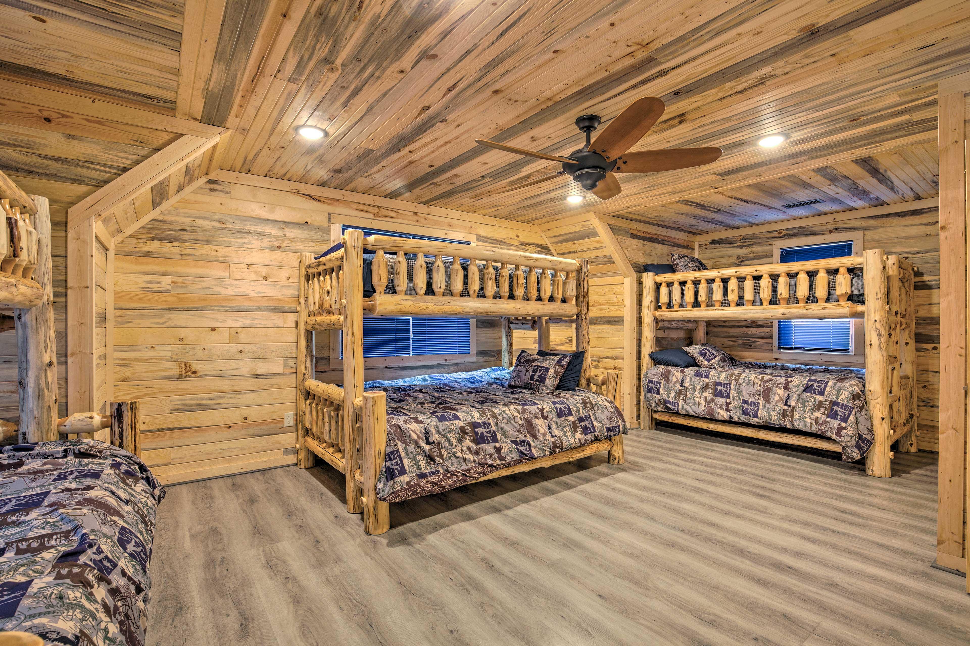 This bedroom sleeps 8 guests.