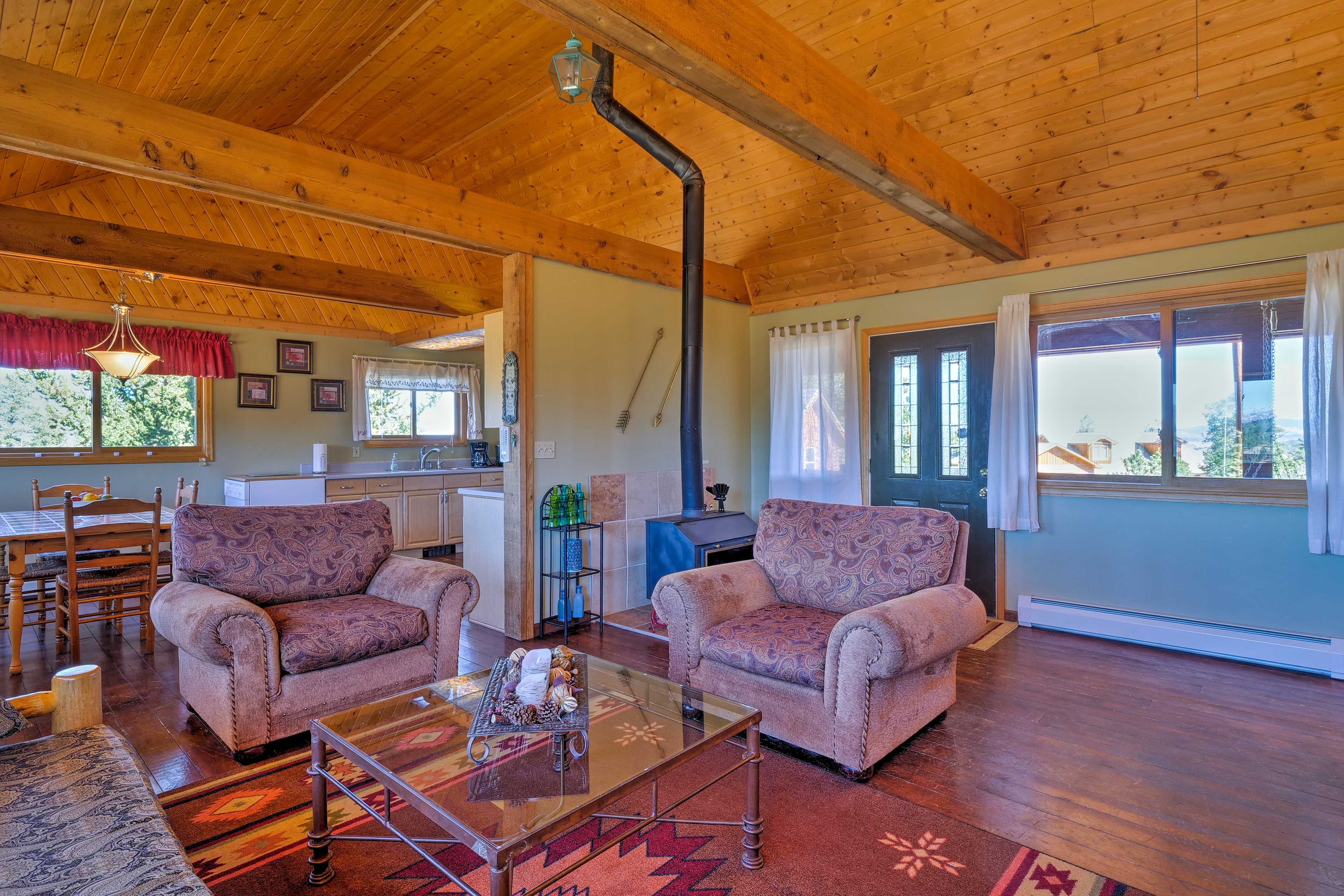The living area & kitchen share an open floor plan.