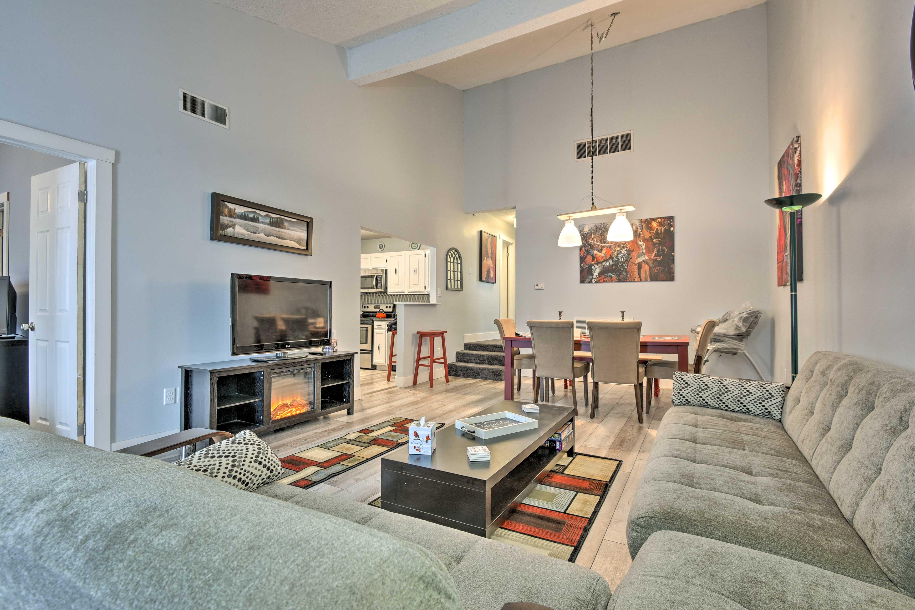 Unwind in this lavish  3-bedroom, 2-bathroom vacation rental apartment for 8.