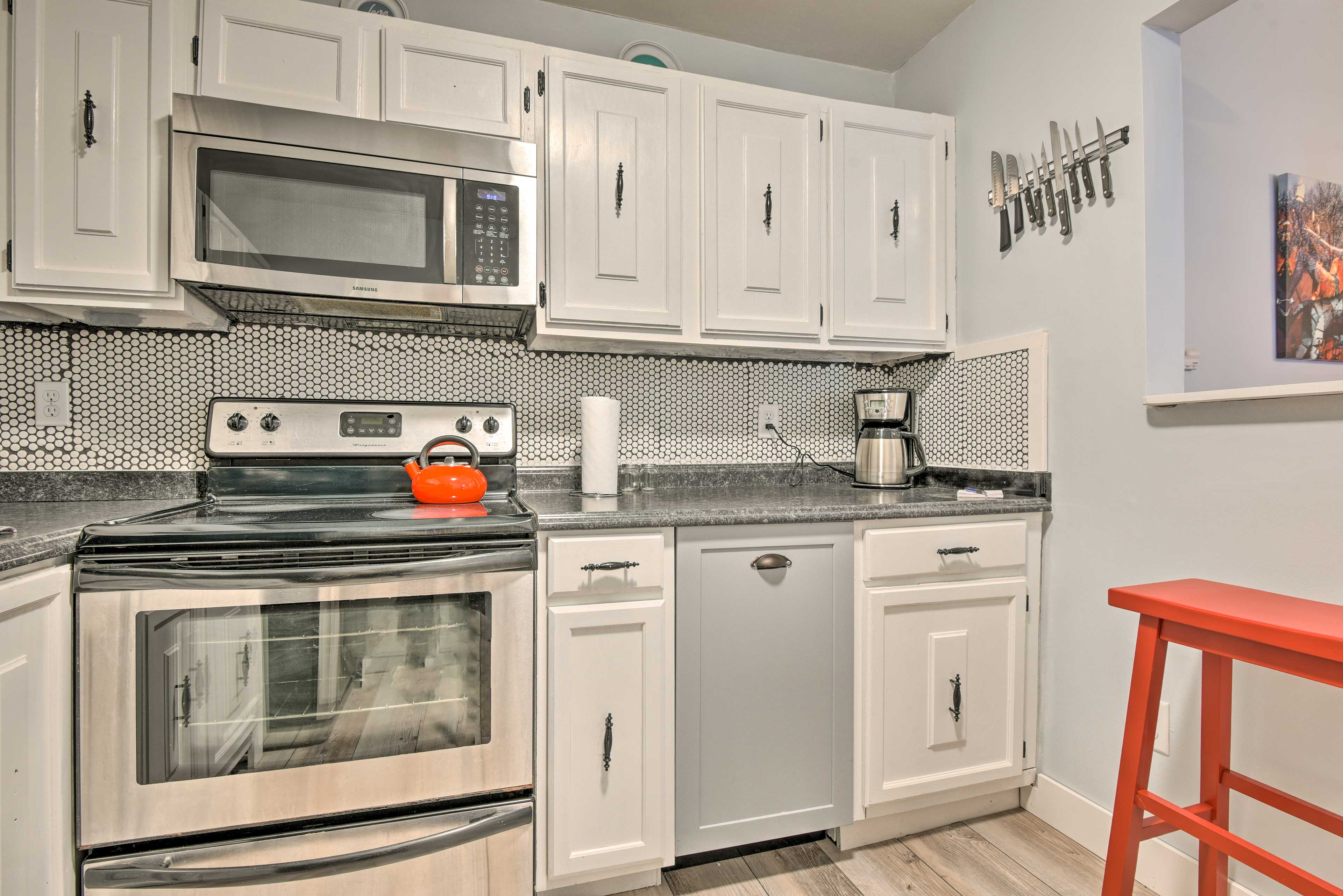 Whip up your signature dish with the stainless steel appliances.