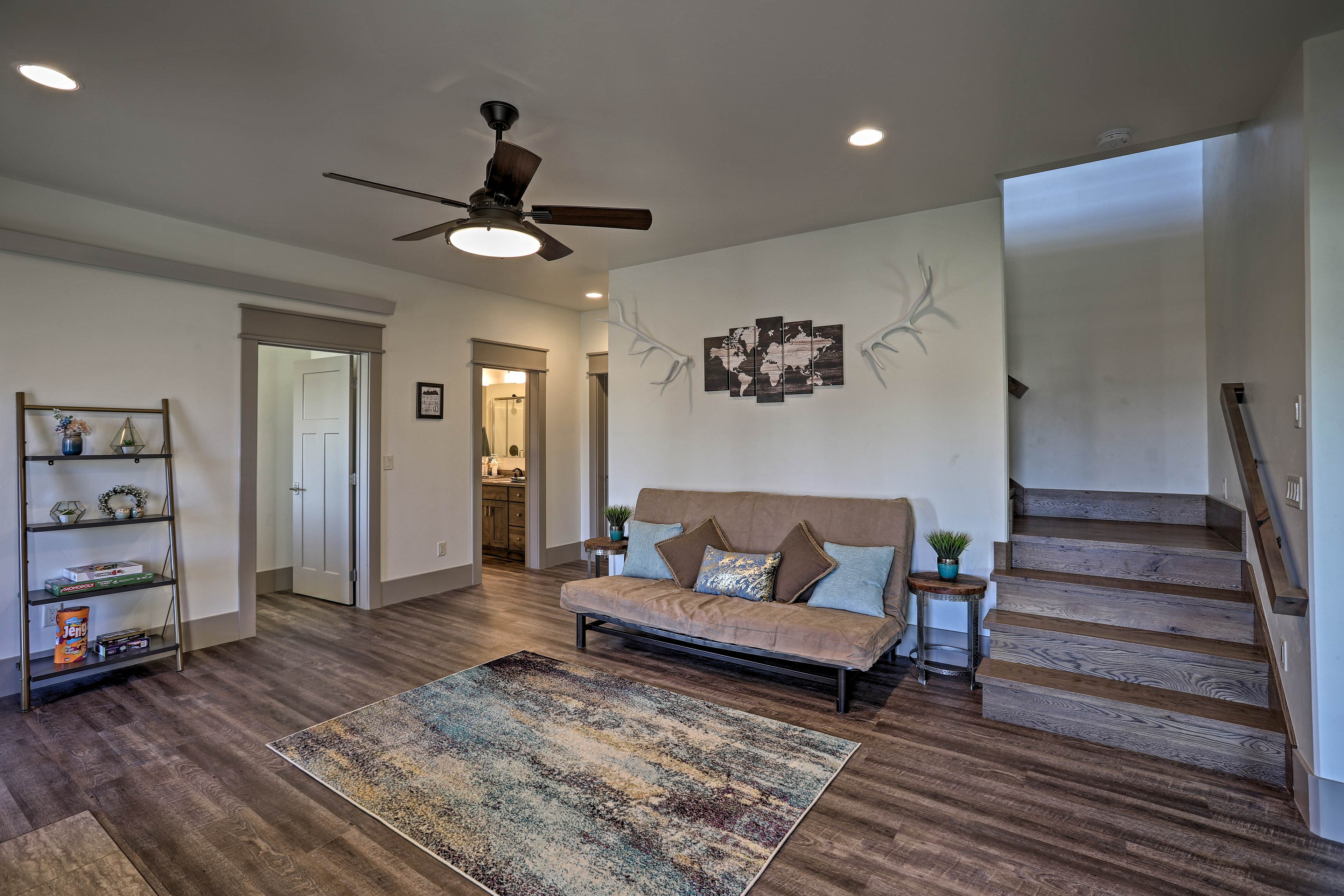The downstairs family room includes a sleeper sofa to sleep 2 additional people.