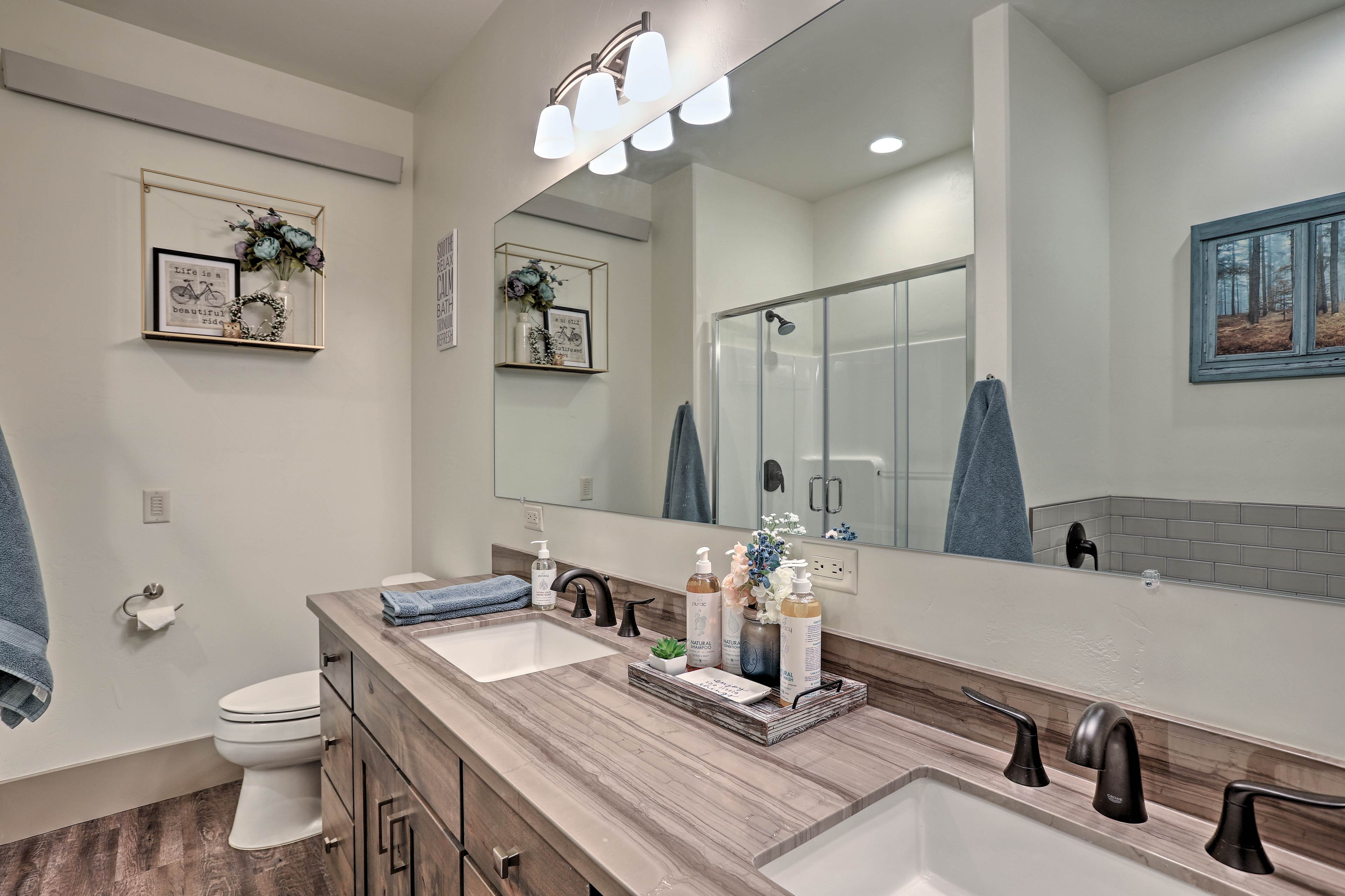 Multiple travelers can easily share the spacious second full bathroom.
