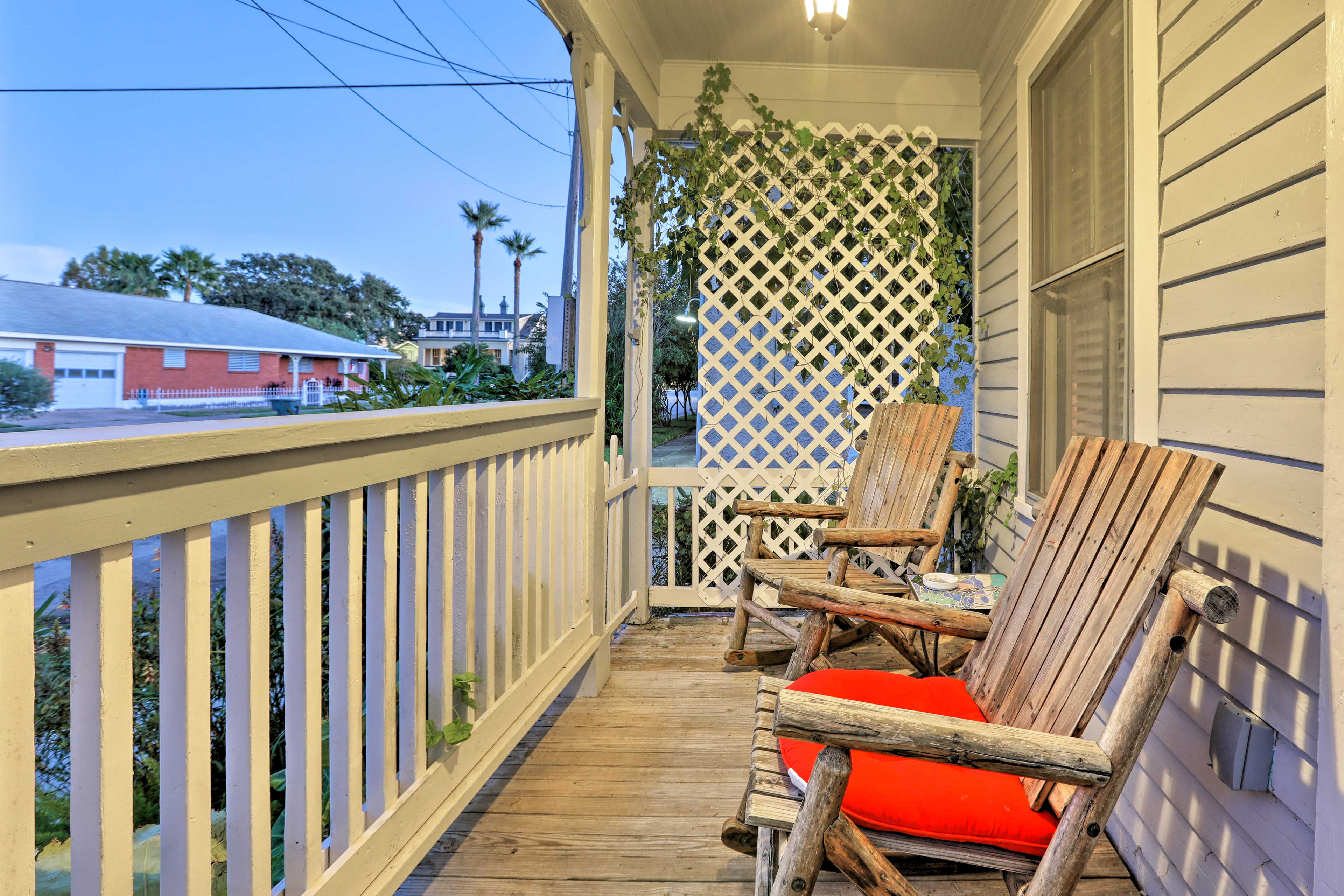 Watch the sunrise from this rocking chairs as you sip you morning coffee.