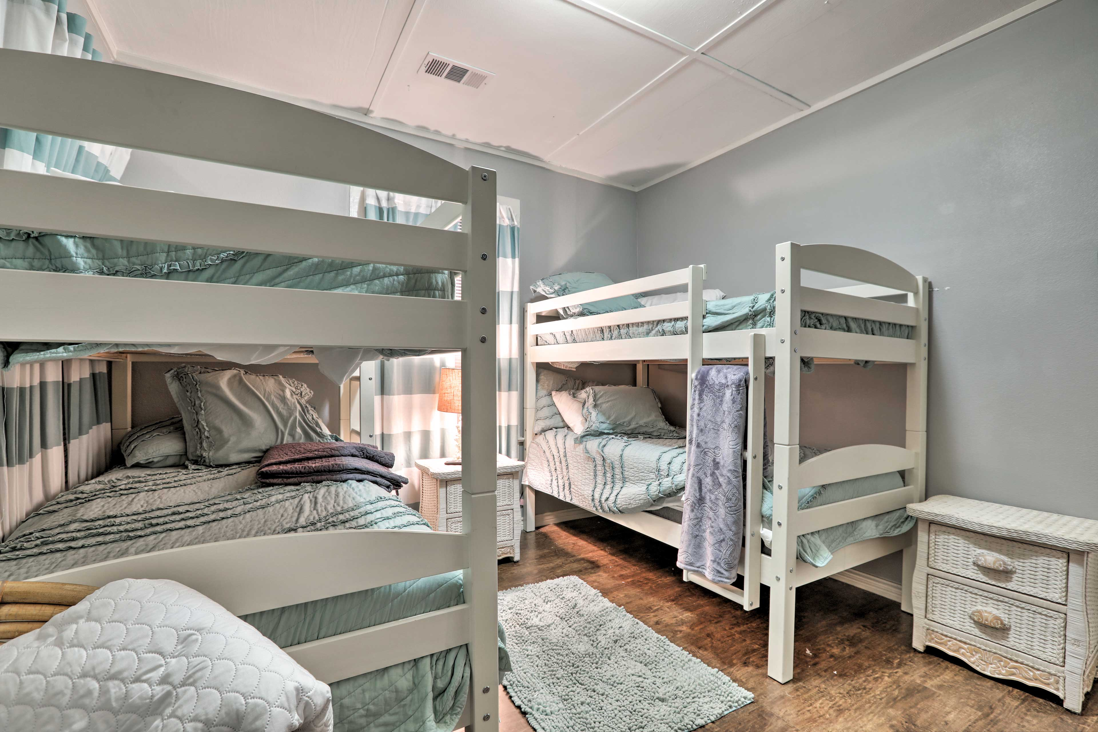 Up to 4 kids or extra guests can snooze in this room.