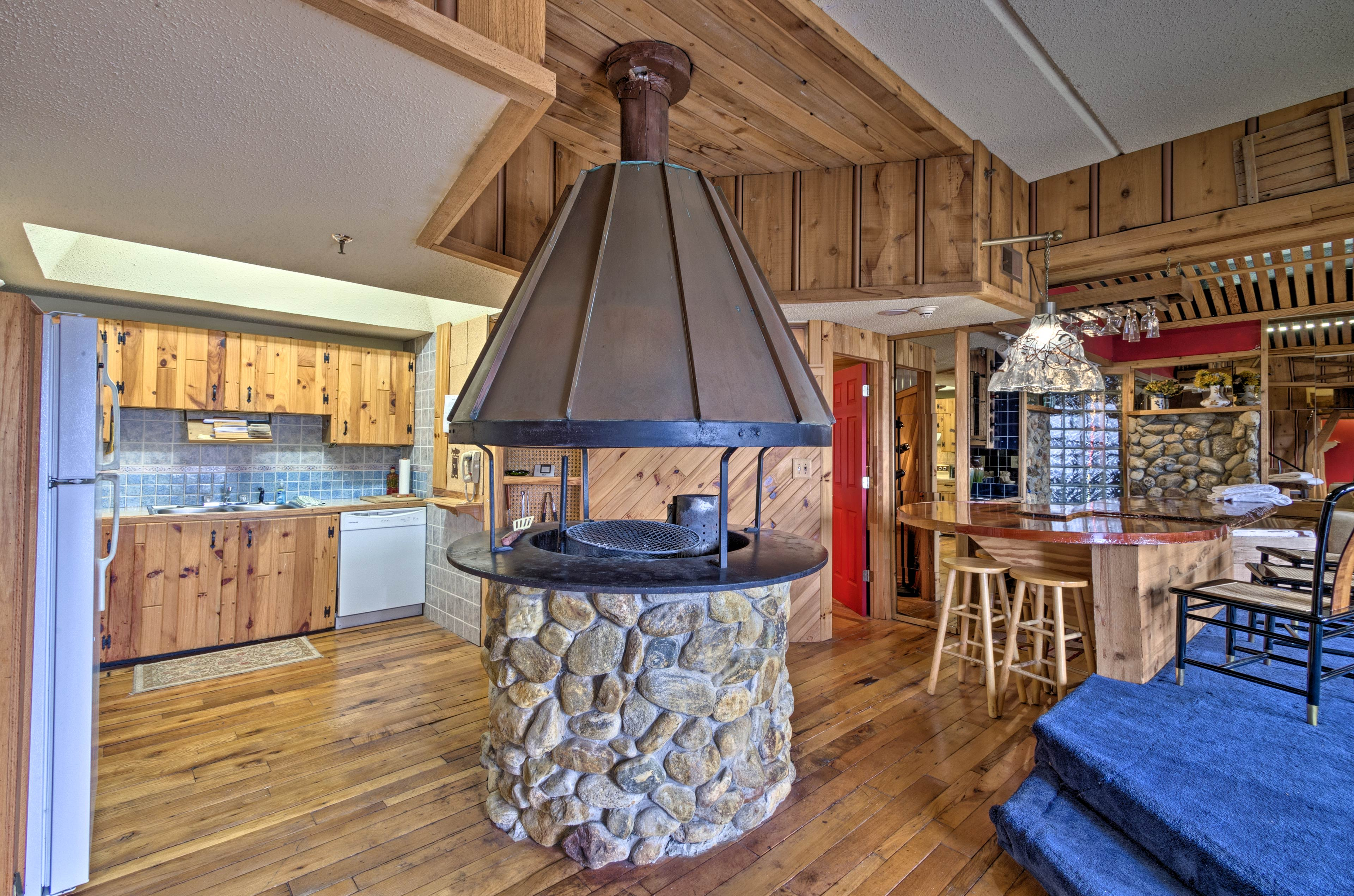 But the indoor charcoal fire pit truly steals the show!