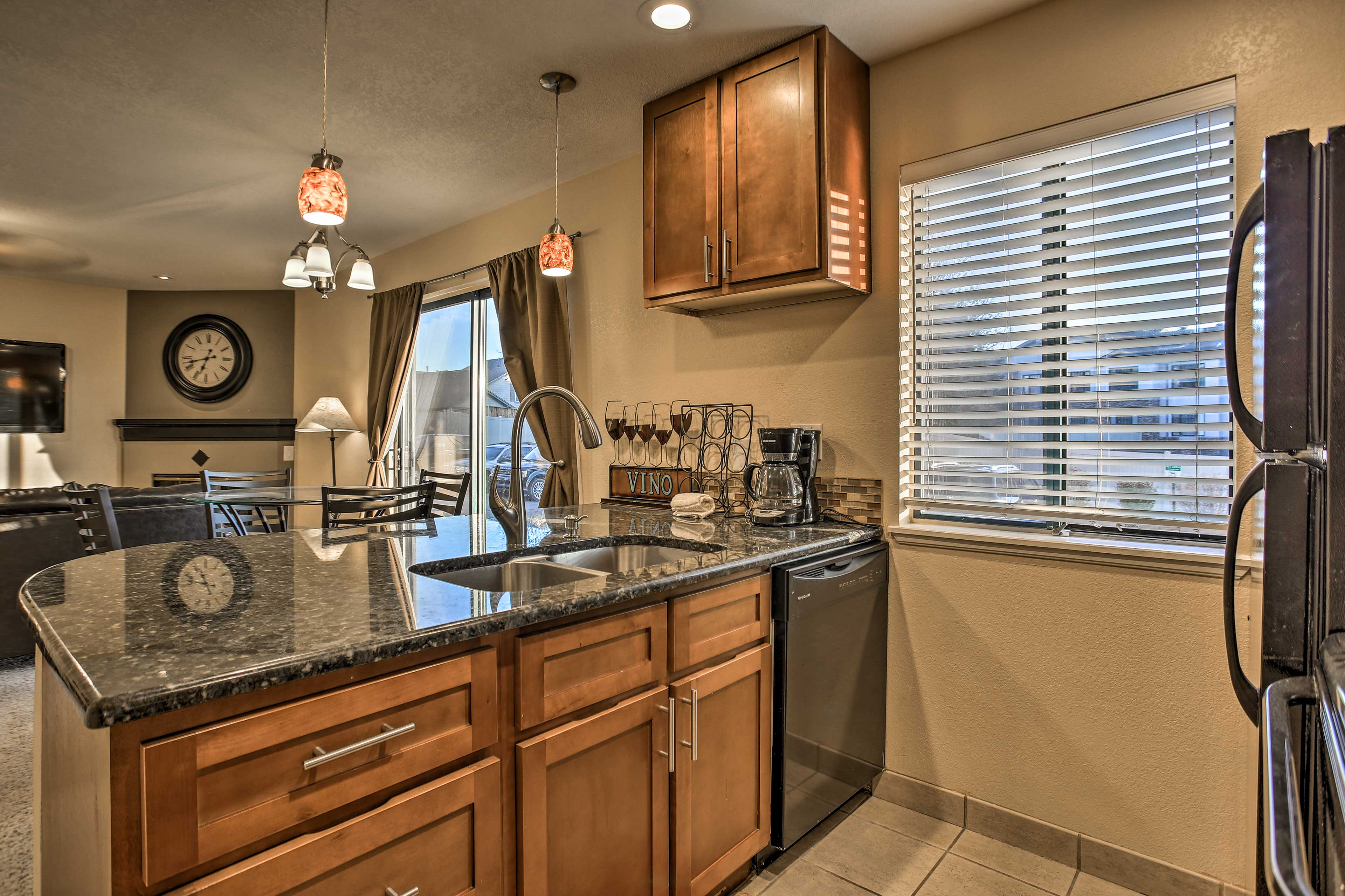 This kitchen is fully equipped with all appliances necessary.