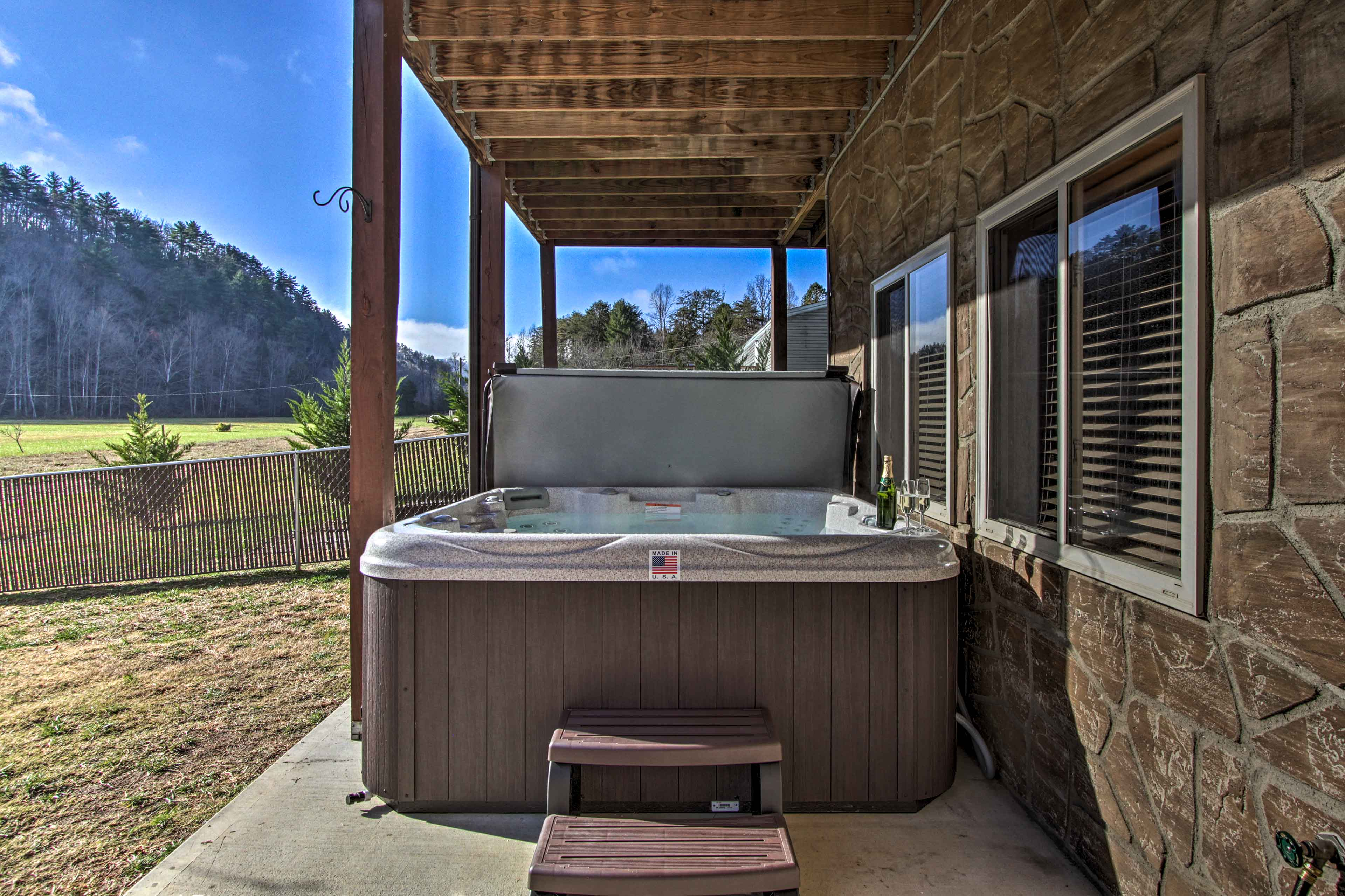 There's no better way to end the day than with a dip in this brand new hot tub.