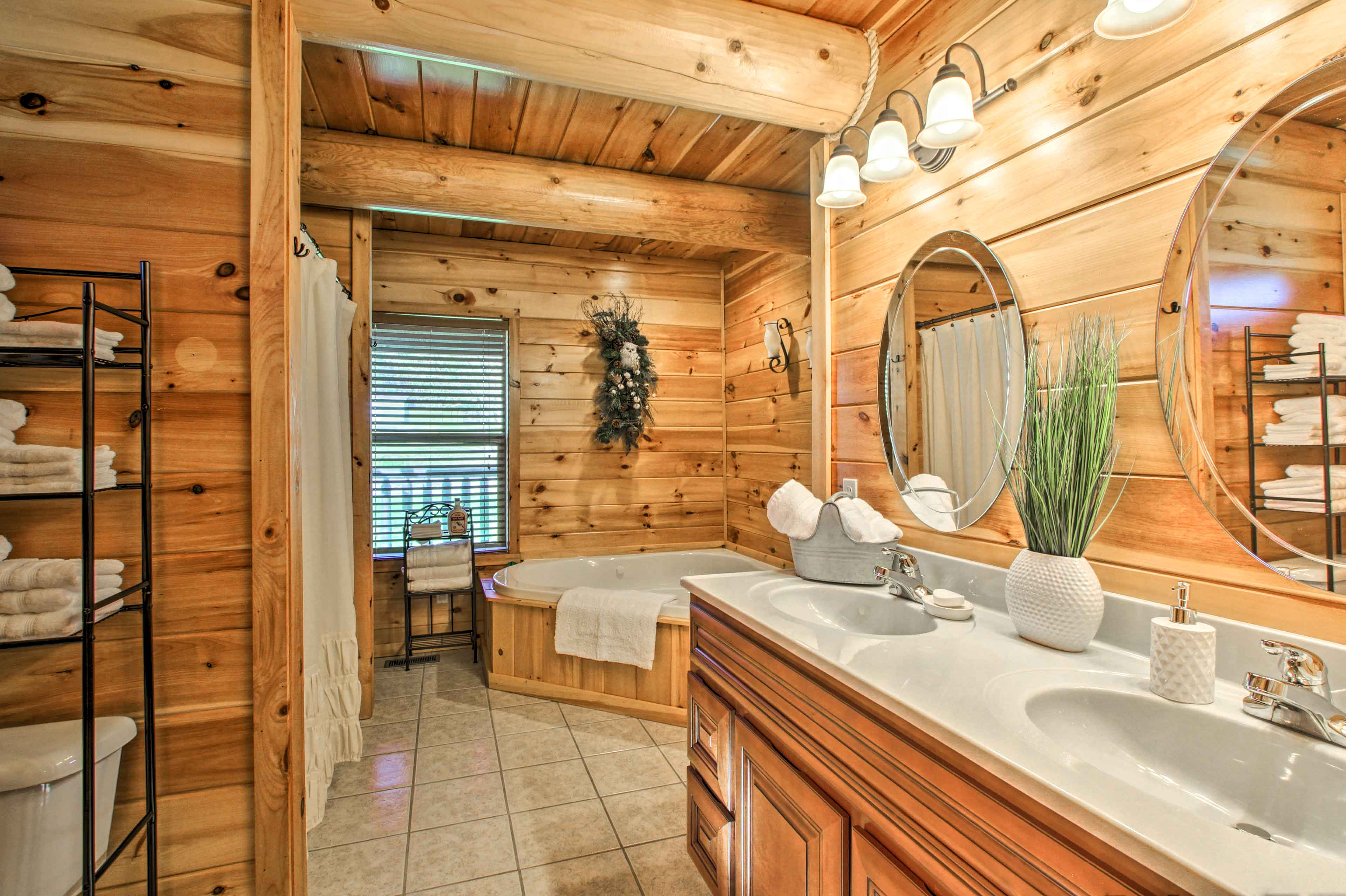 Before bed, enjoy a soak in the en-suite bathroom's Jacuzzi tub.