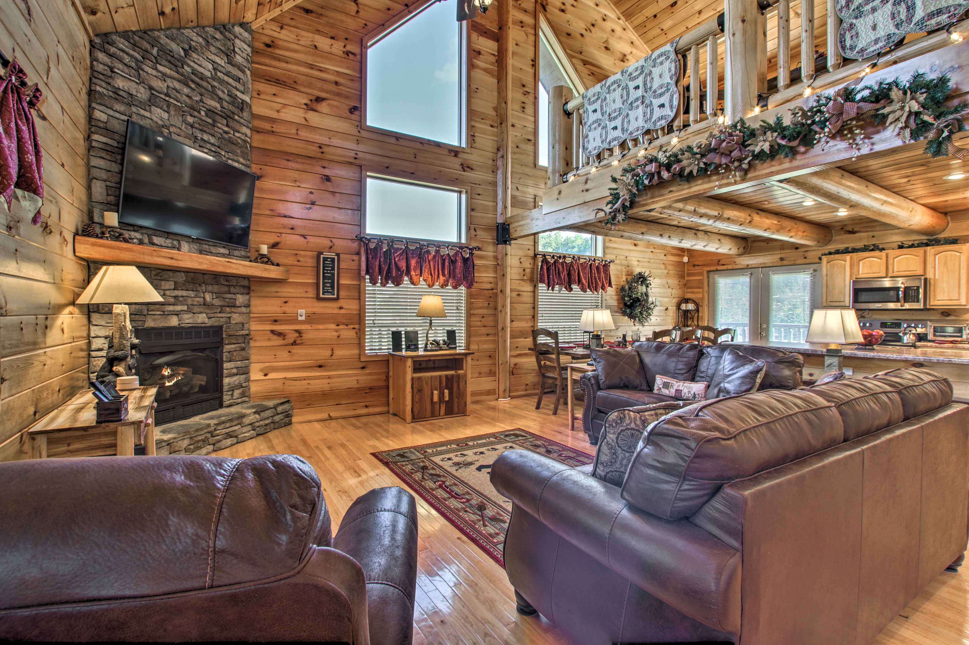 Beautiful woodwork, huge timbers and high ceilings highlight the interior.