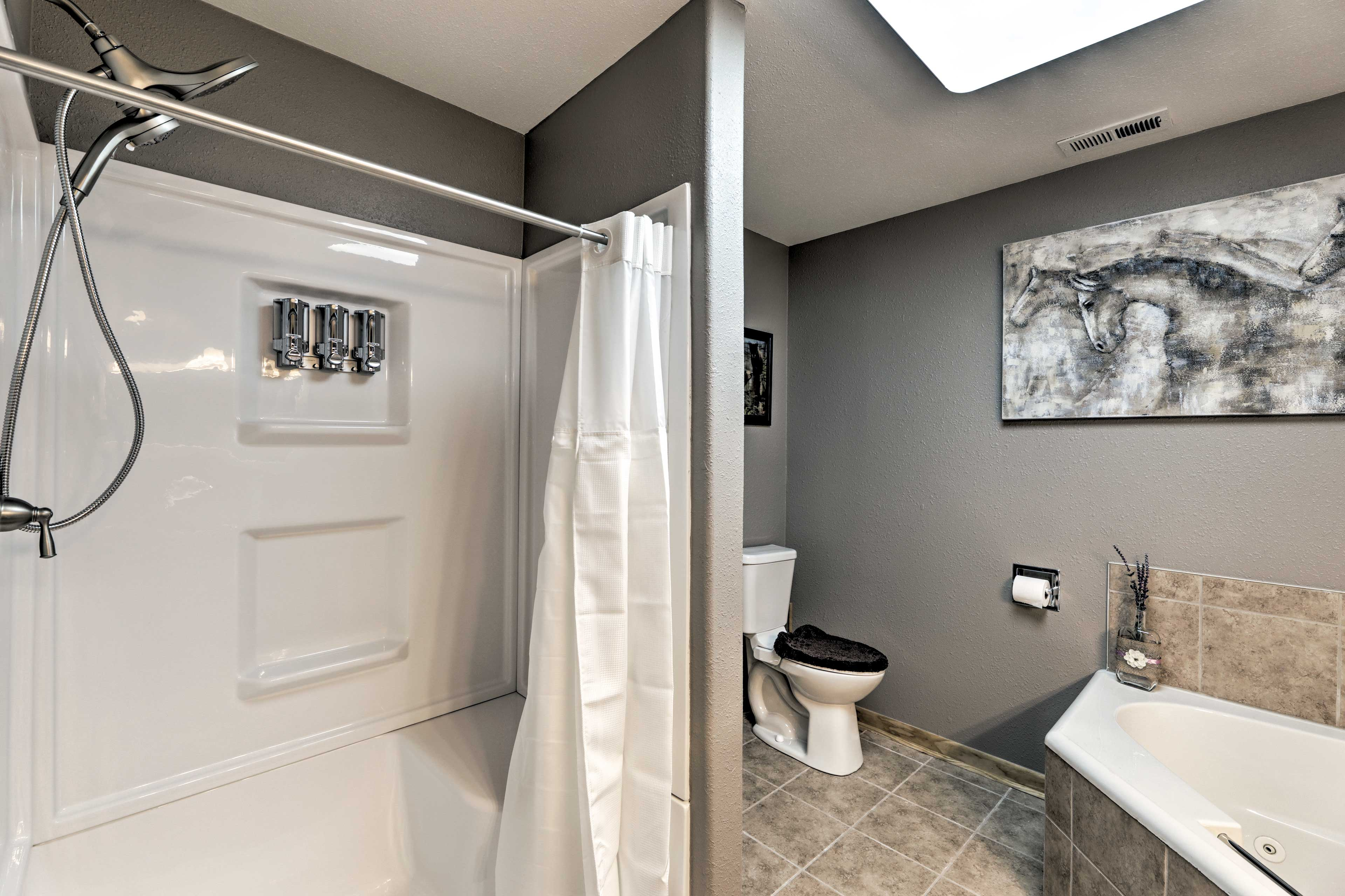 Take a quick rinse in the walk-in shower.