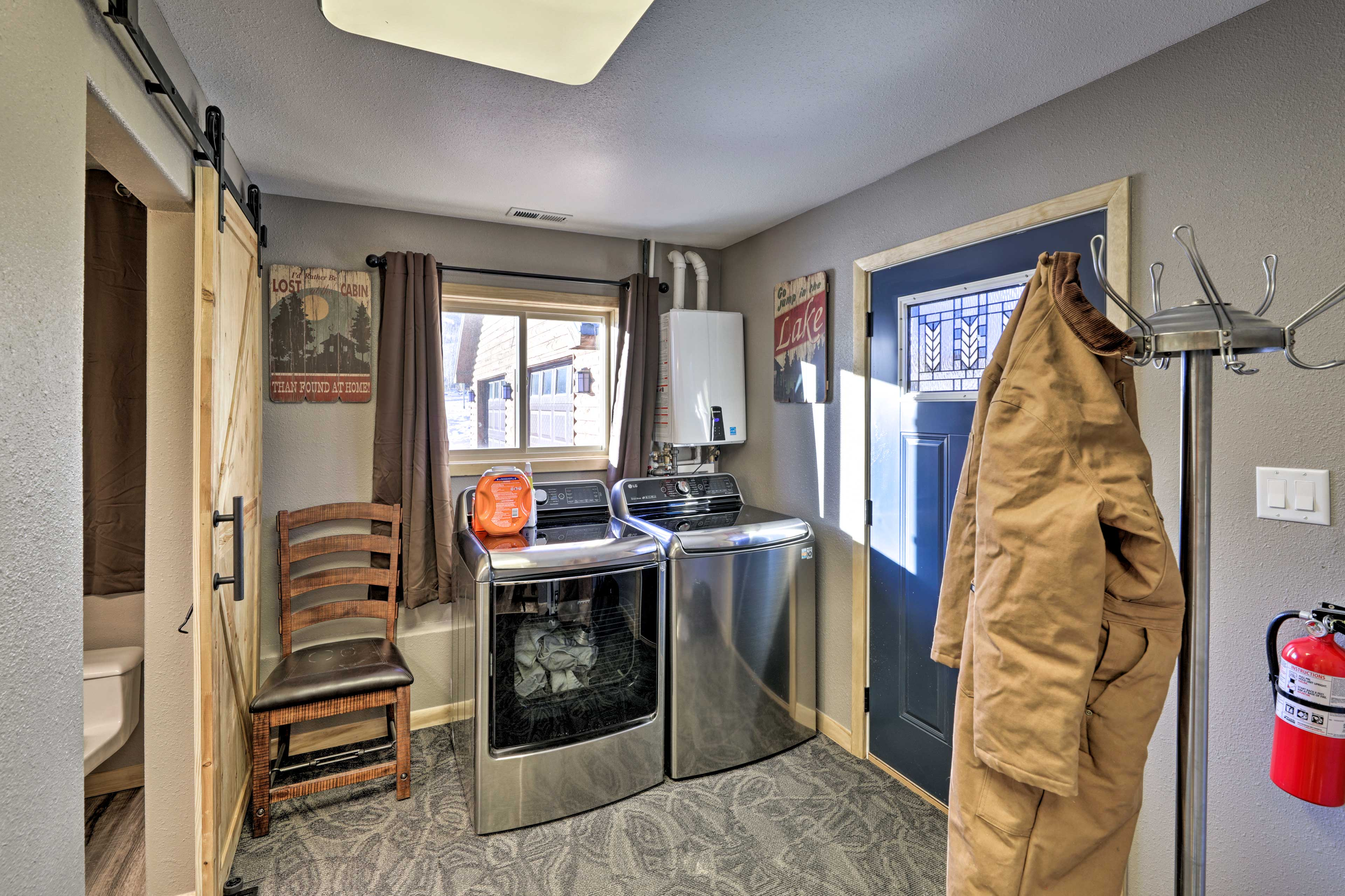 Brand new laundry machines are featured in this home.
