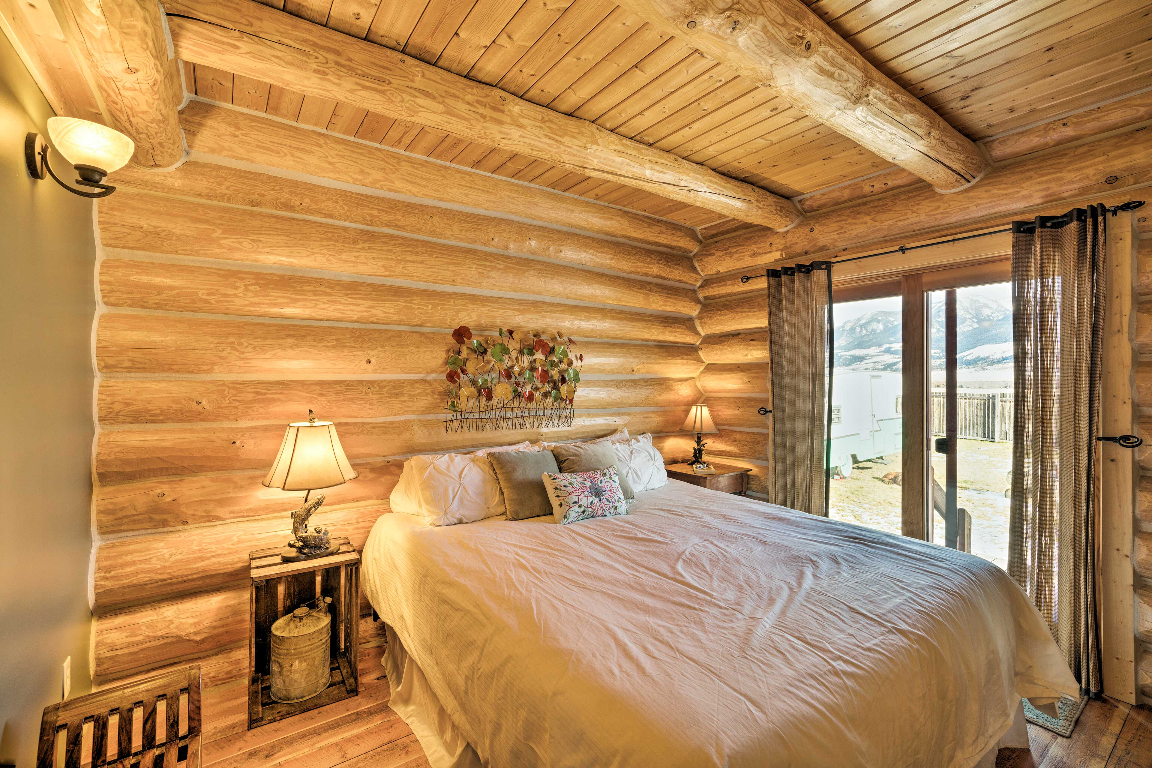 Curl up in the master bedroom's plush king bed.