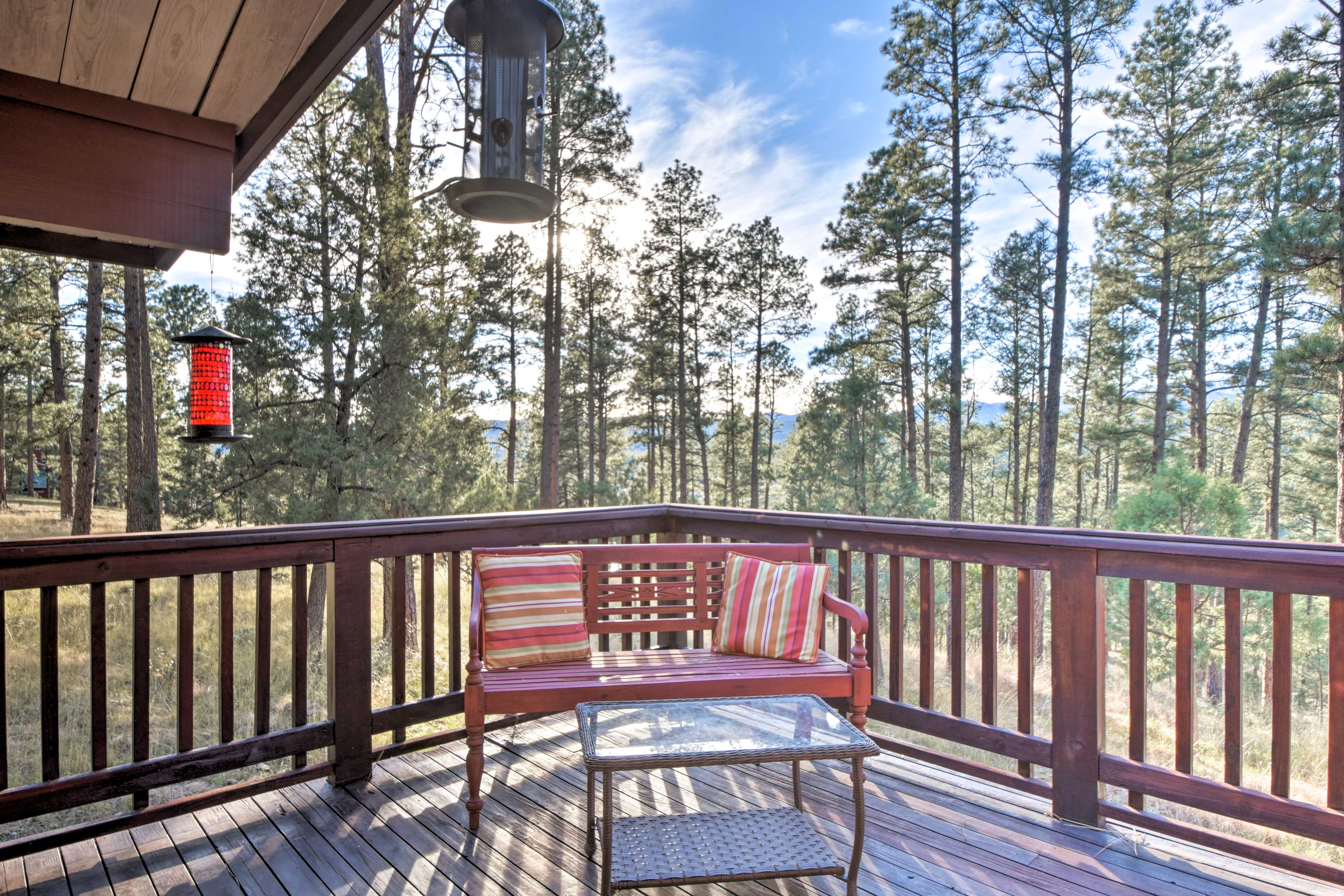 Step right out to the deck to sip your morning coffee in the fresh mountain air.