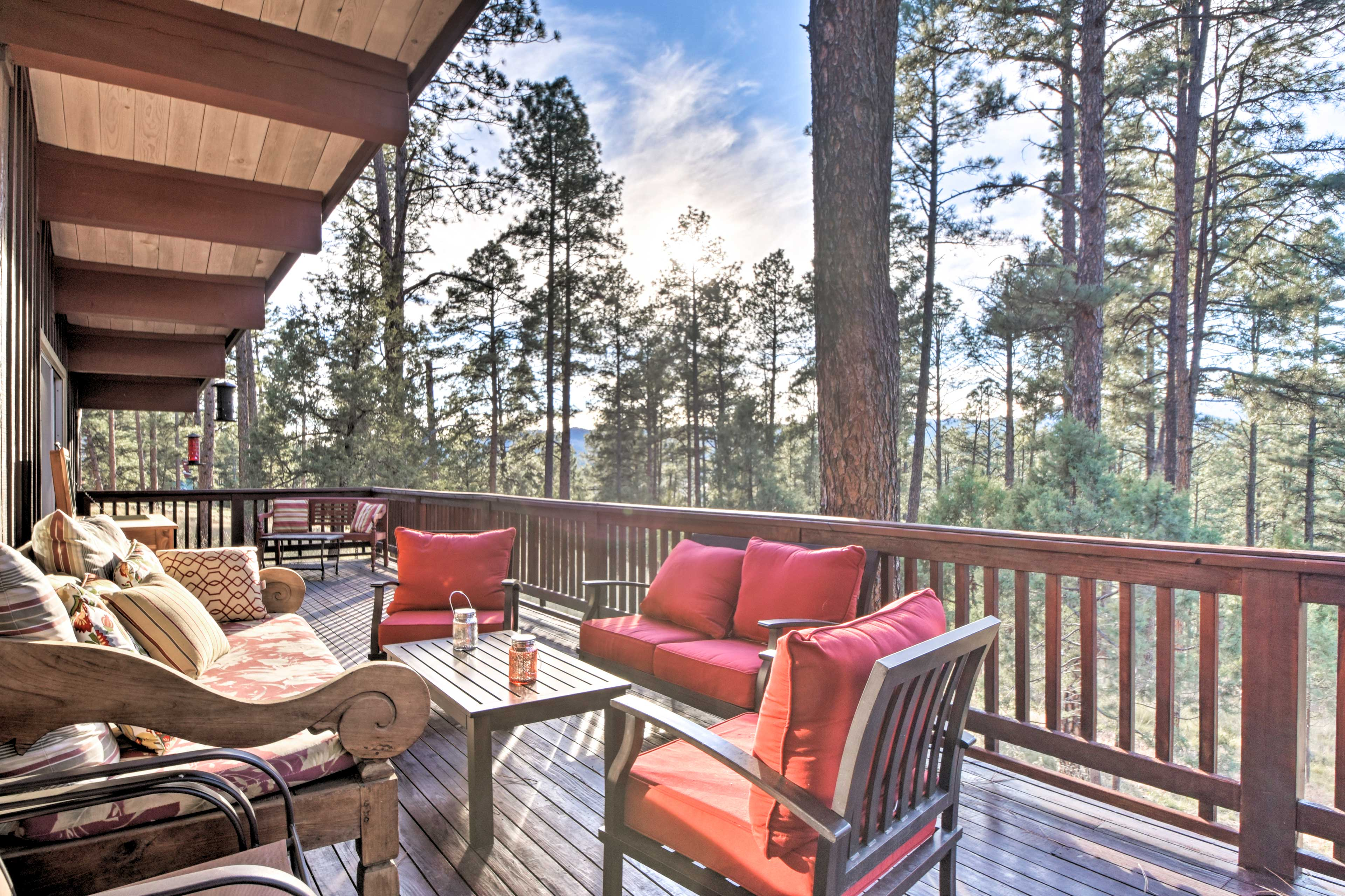 Escape to the Sierra Blanca Mountains to stay in this Ruidoso home for 16!