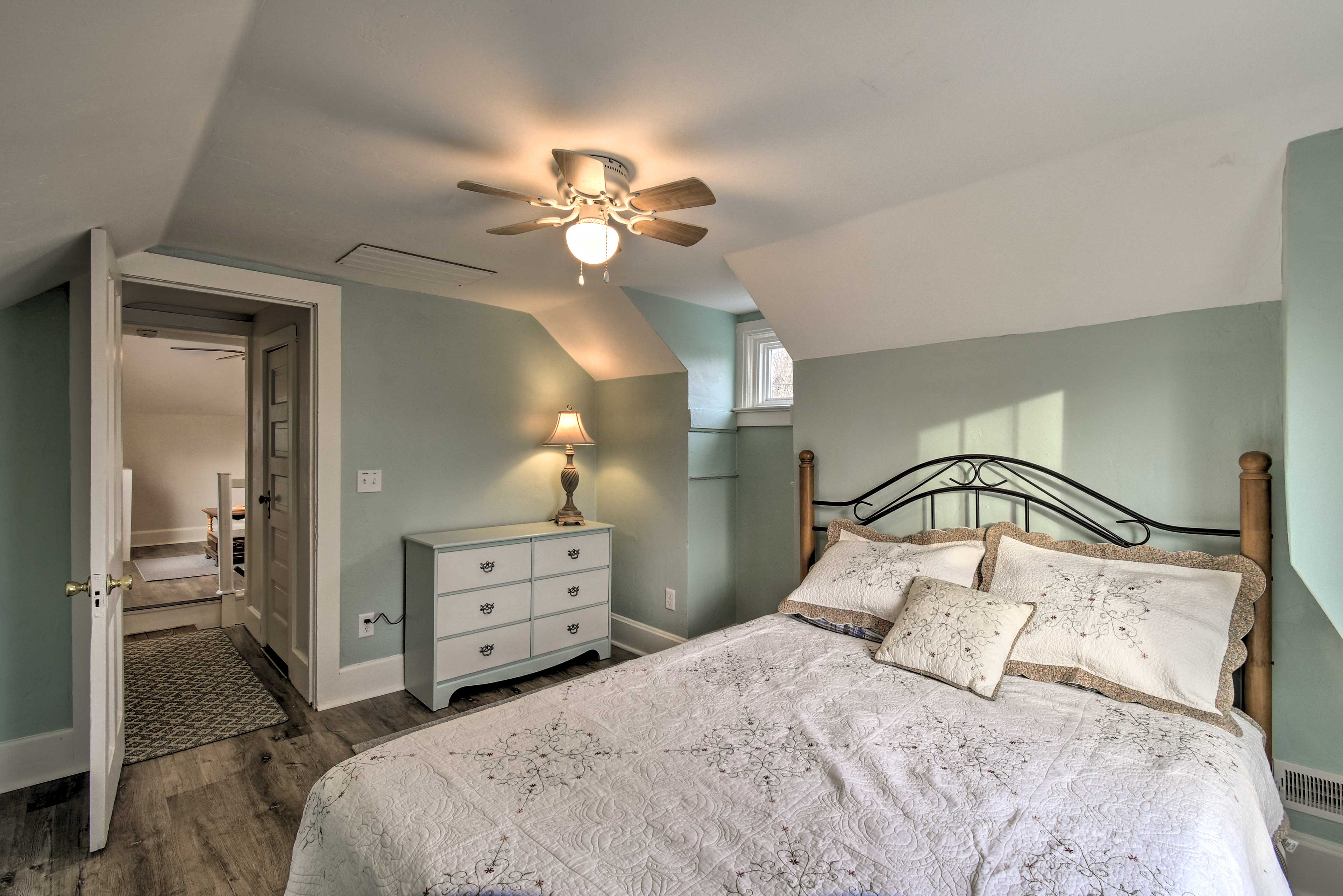 Put your clothes in the large dresser and feel right at home.