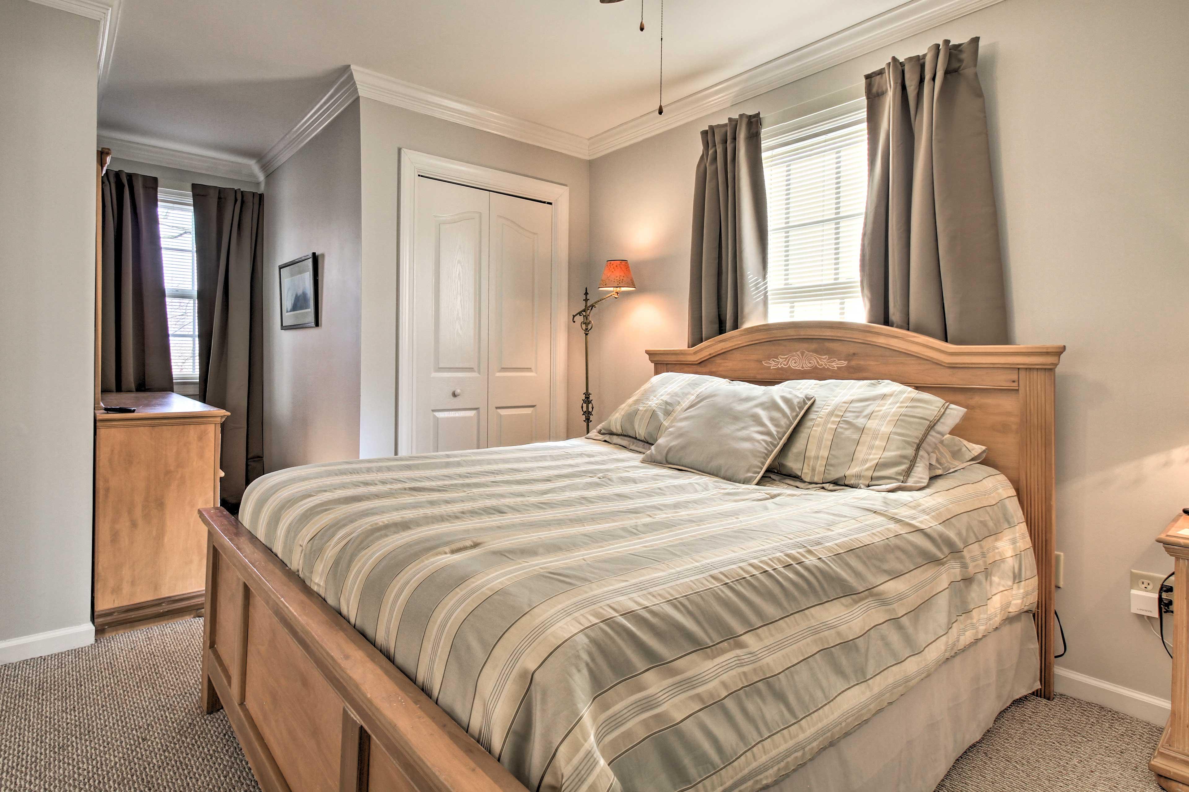 The master bedroom features a Sleep Number queen mattress!