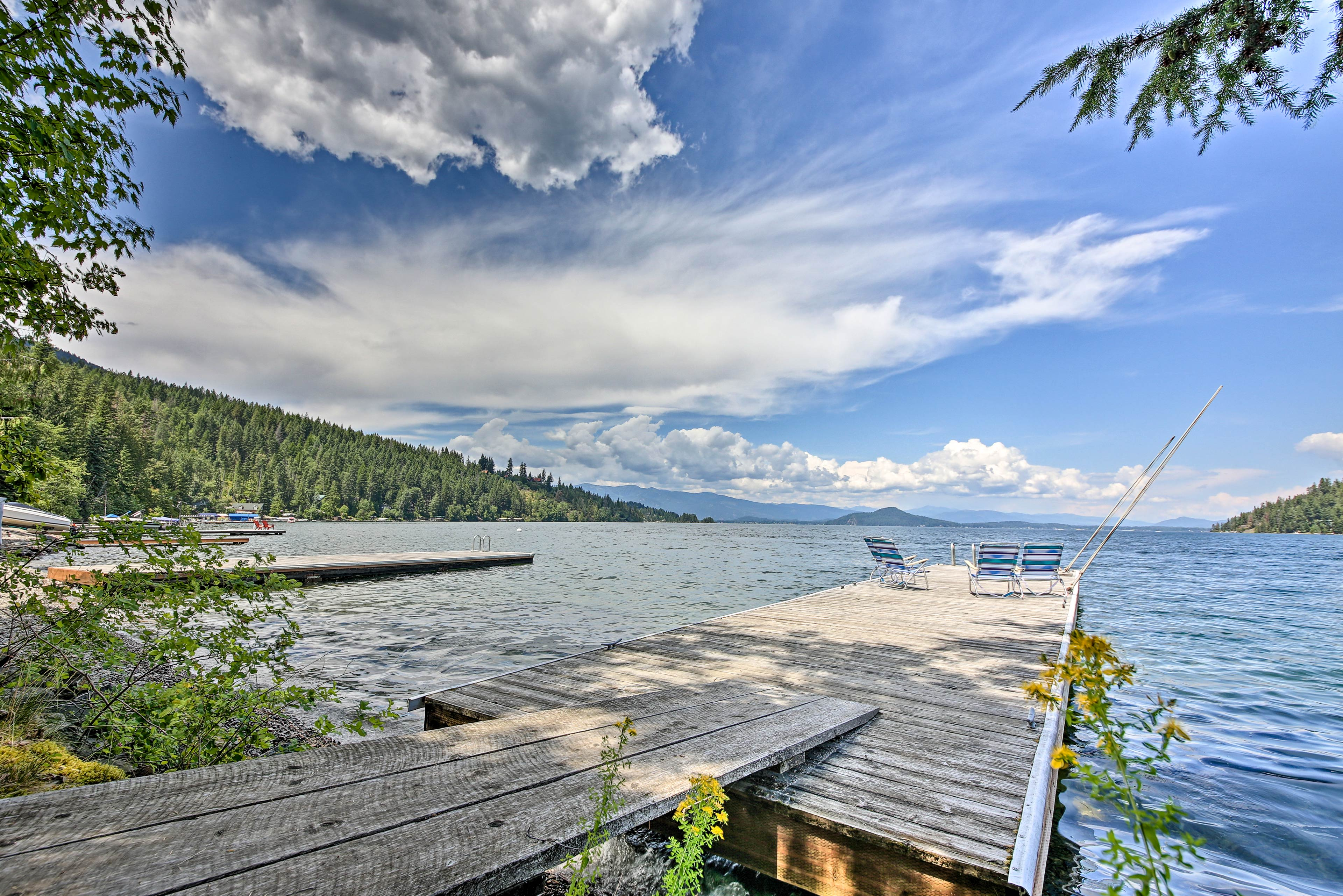 Head to the dock to fish or swim!