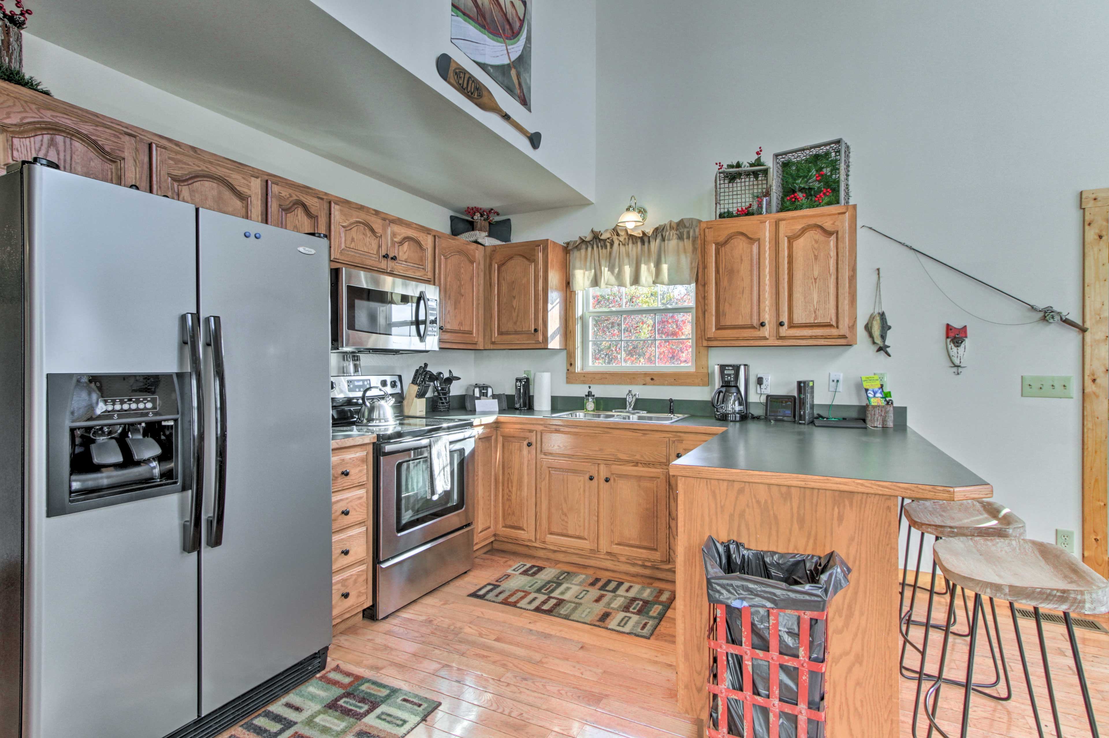 Spacious counters and modern appliances complete the kitchen.