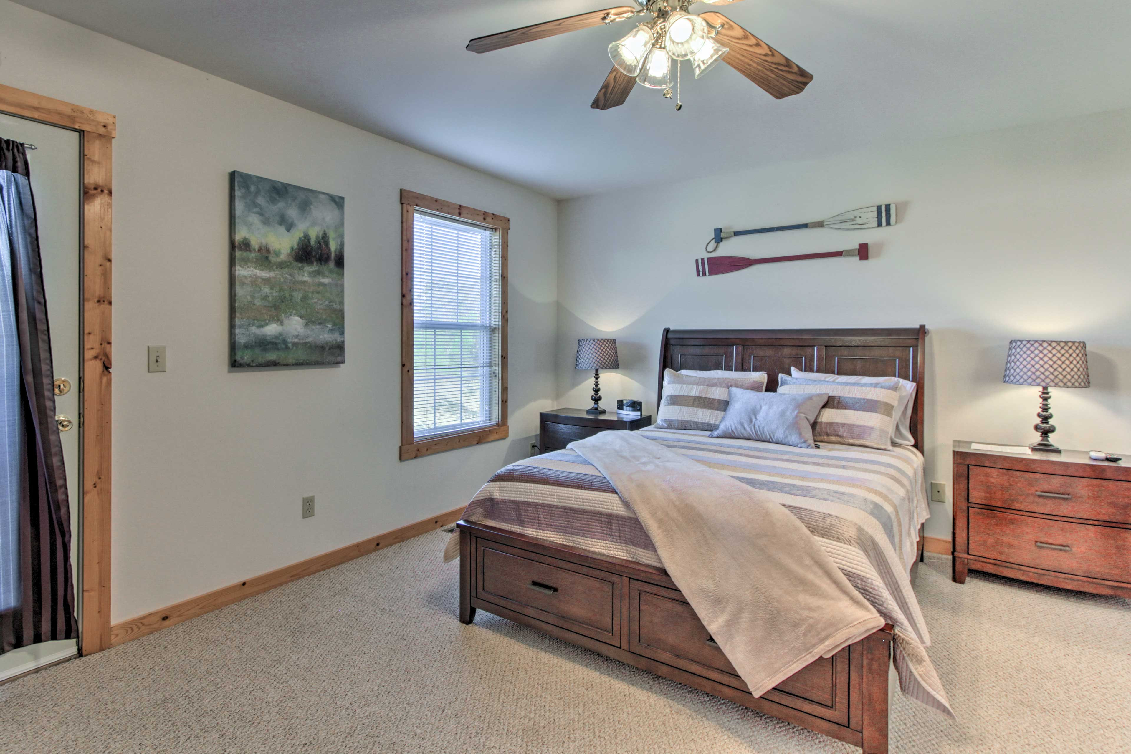 Snuggle up in the master bedroom's queen bed.