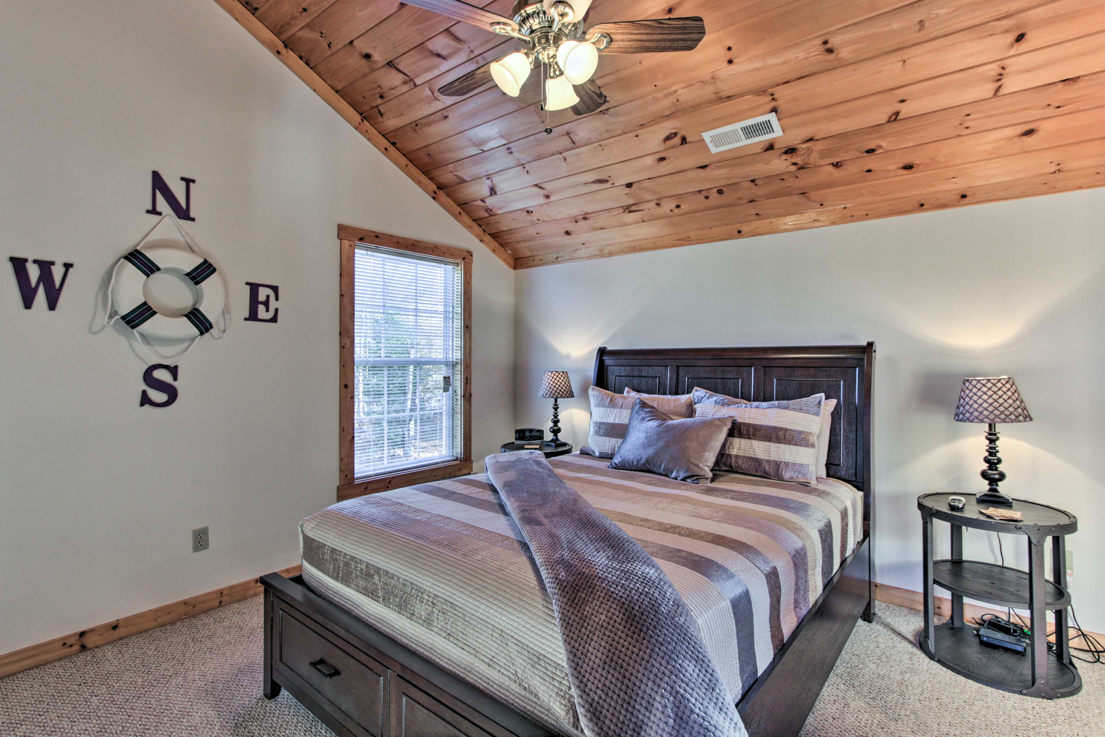 The second bedroom can be found upstairs.