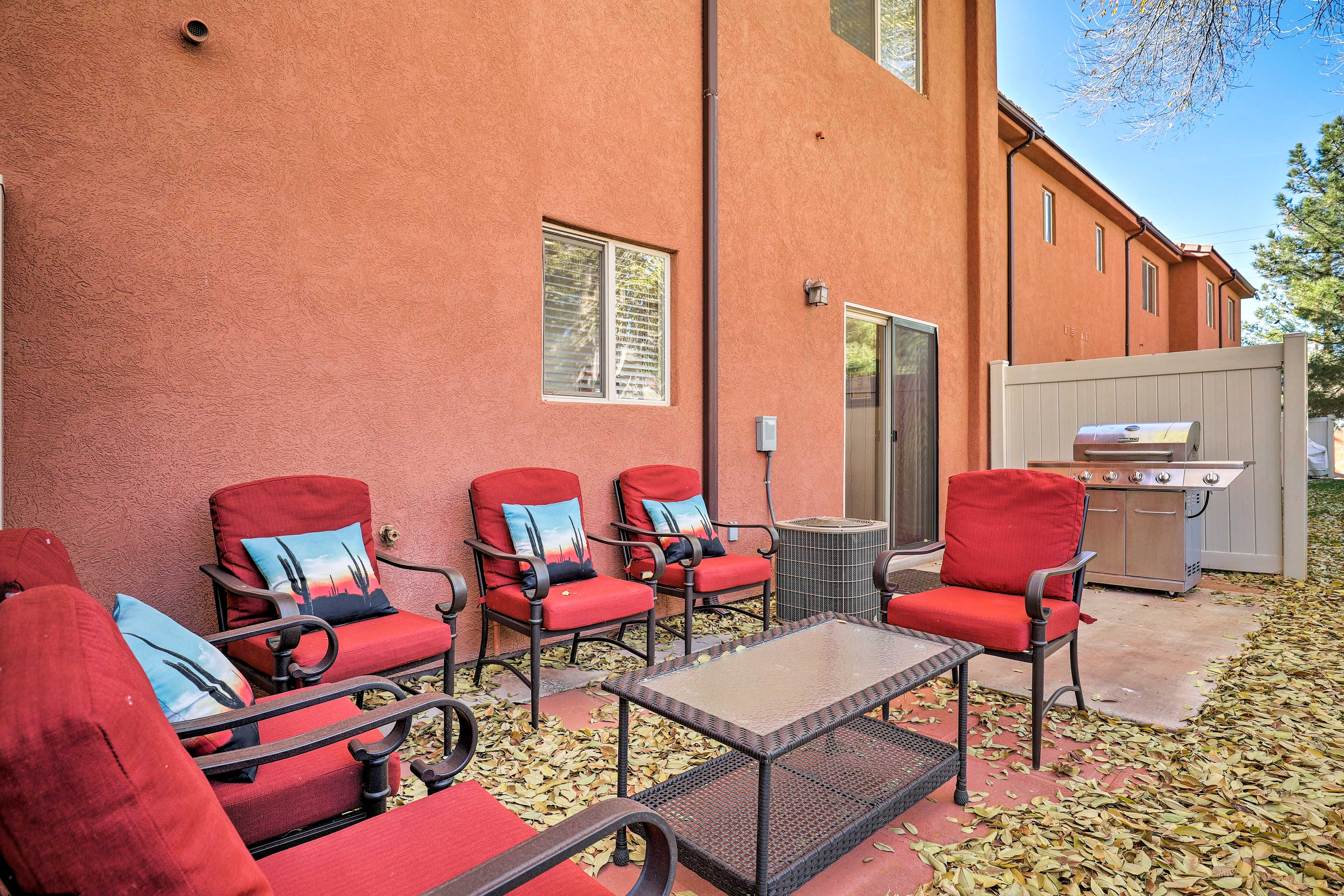 Kick off your vacation with a cookout on the private patio and gas grill.