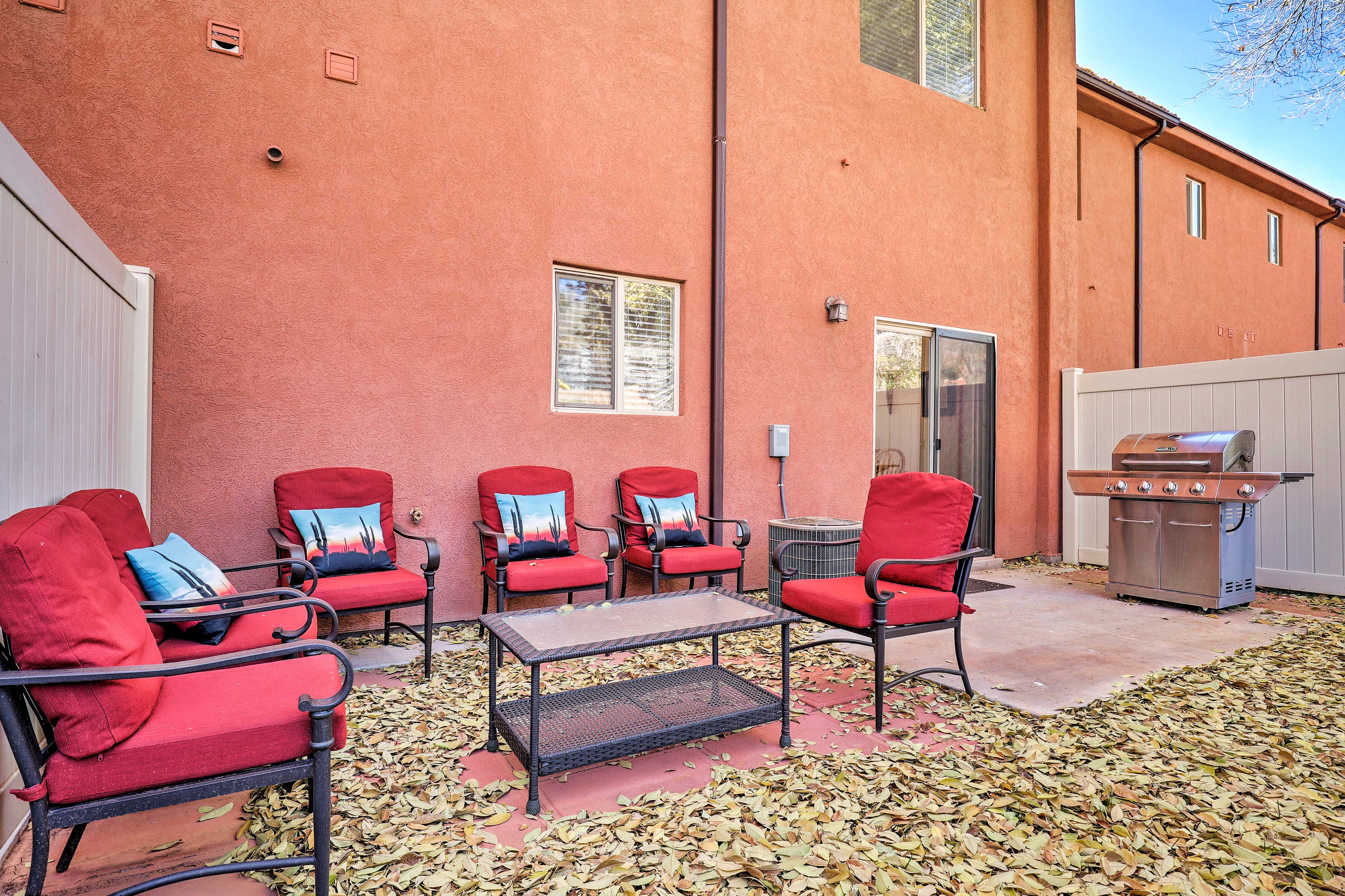 Evenings are best spent outdoors on the spacious patio.