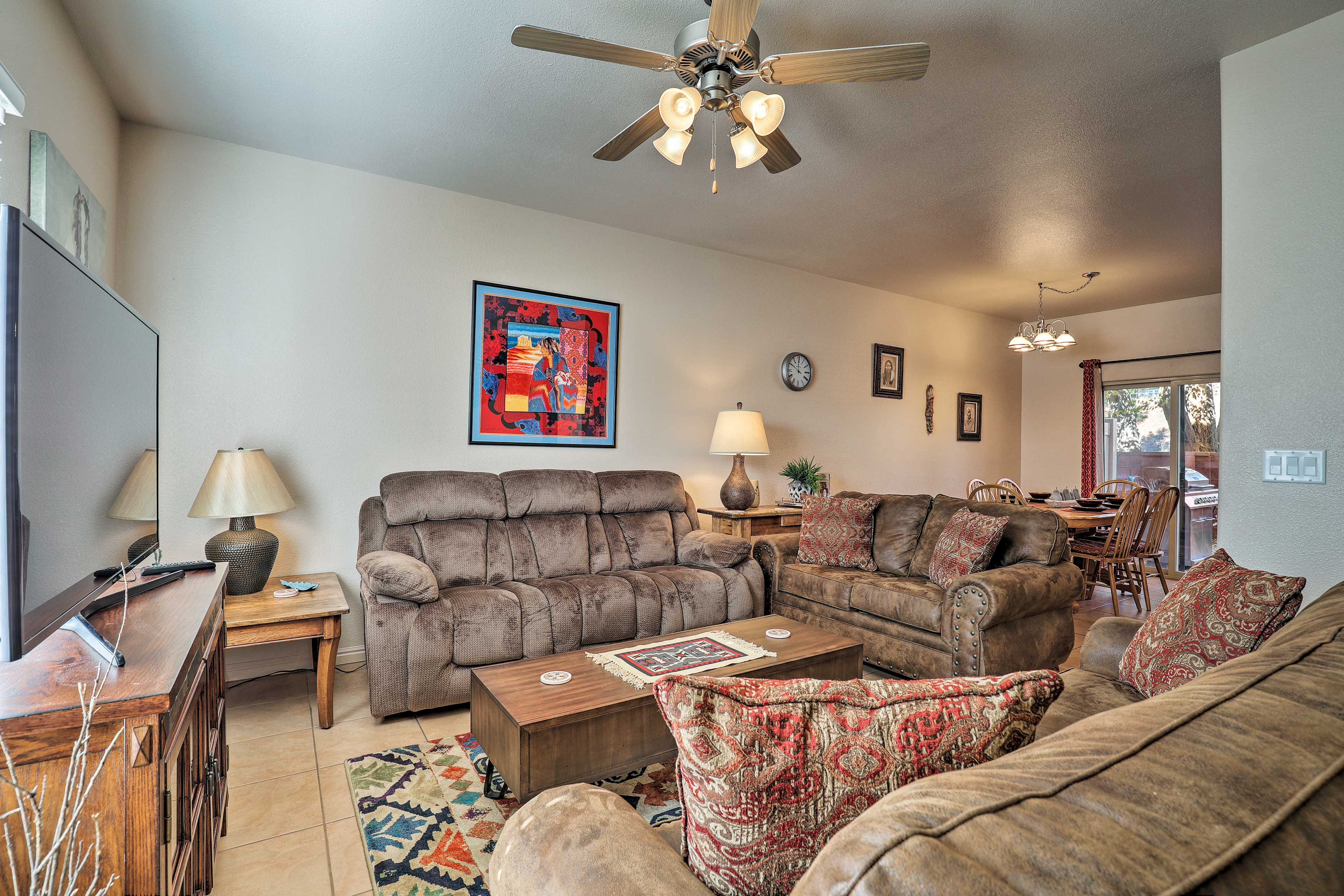 The spacious interior boasts 1,245 square feet for 6 guests.