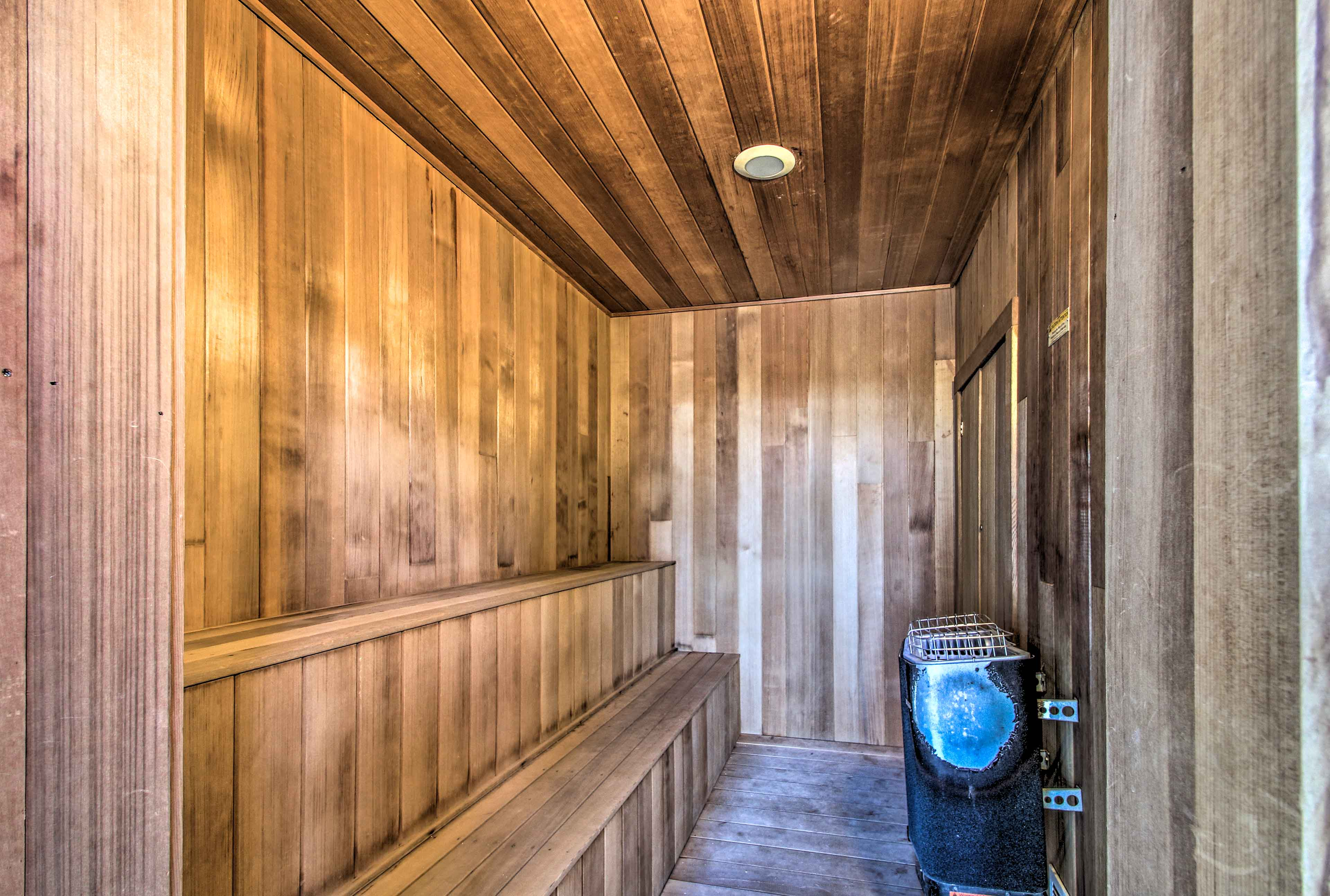 Unwind in the sauna after a day of skiing.