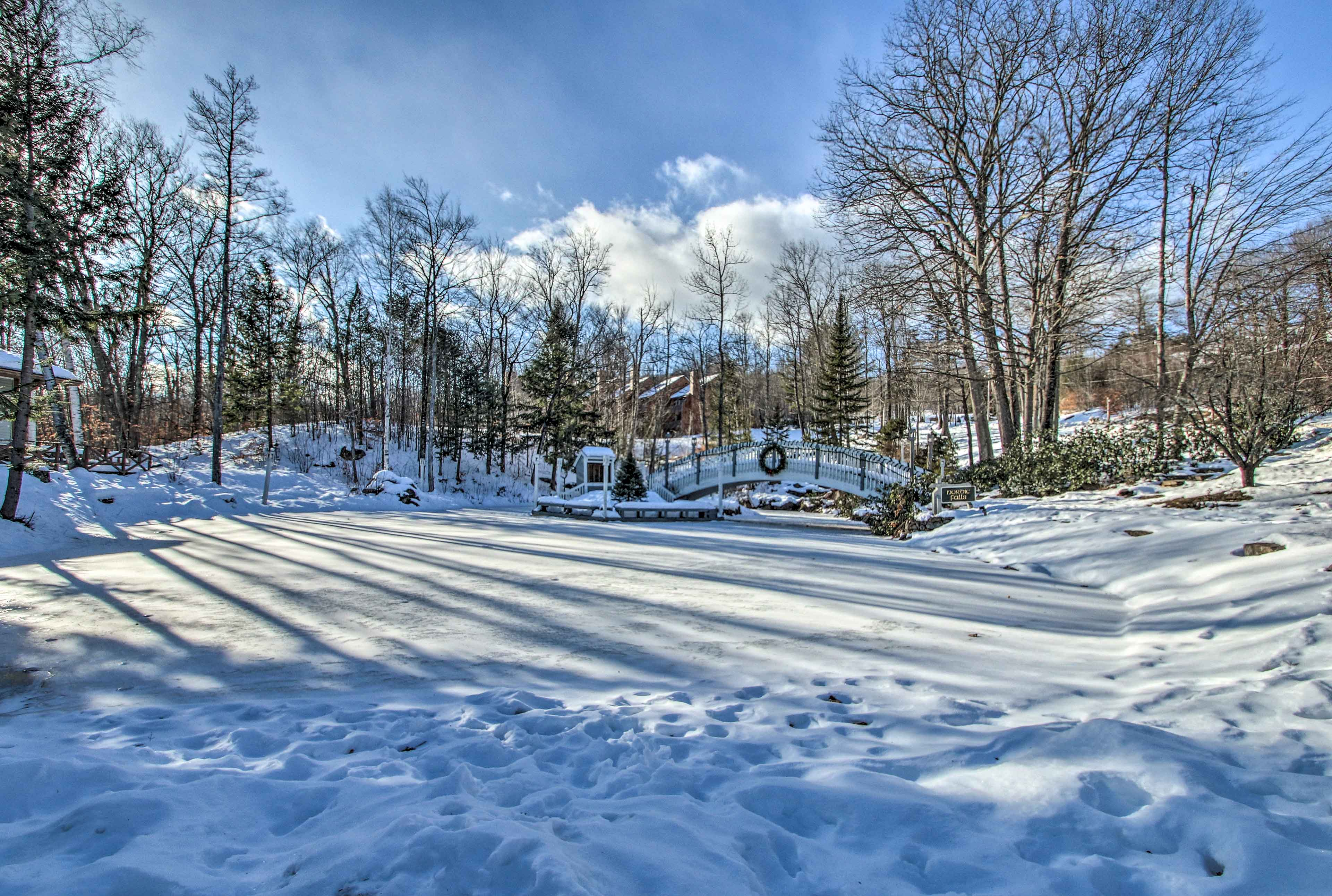 Beautiful in the snow, this pond is also perfect for a peaceful rowboat ride!