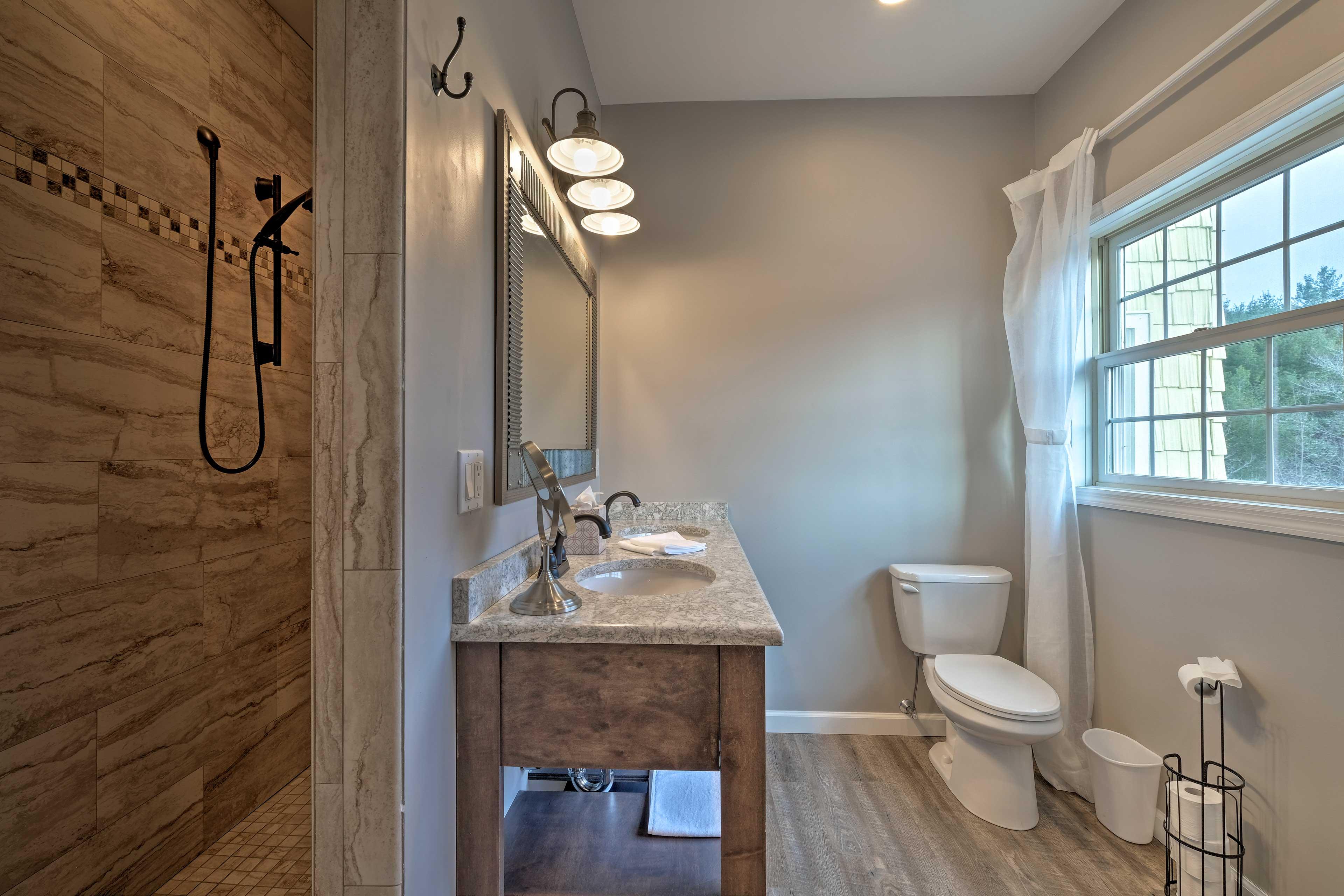 Bathroom 2: walk-in shower, double vanity