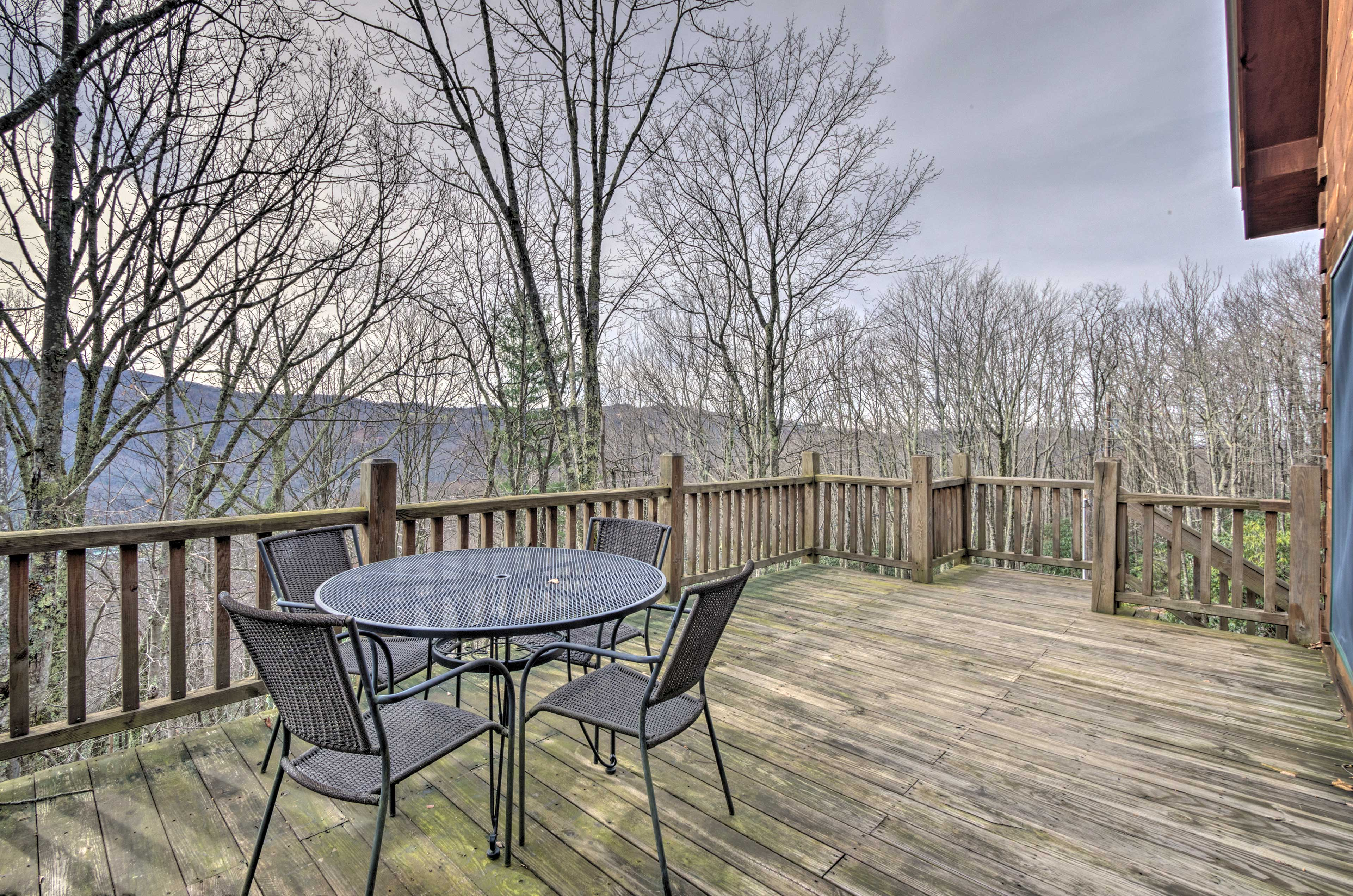This panoramic Blue Ridge Mountain view will be yours to enjoy.