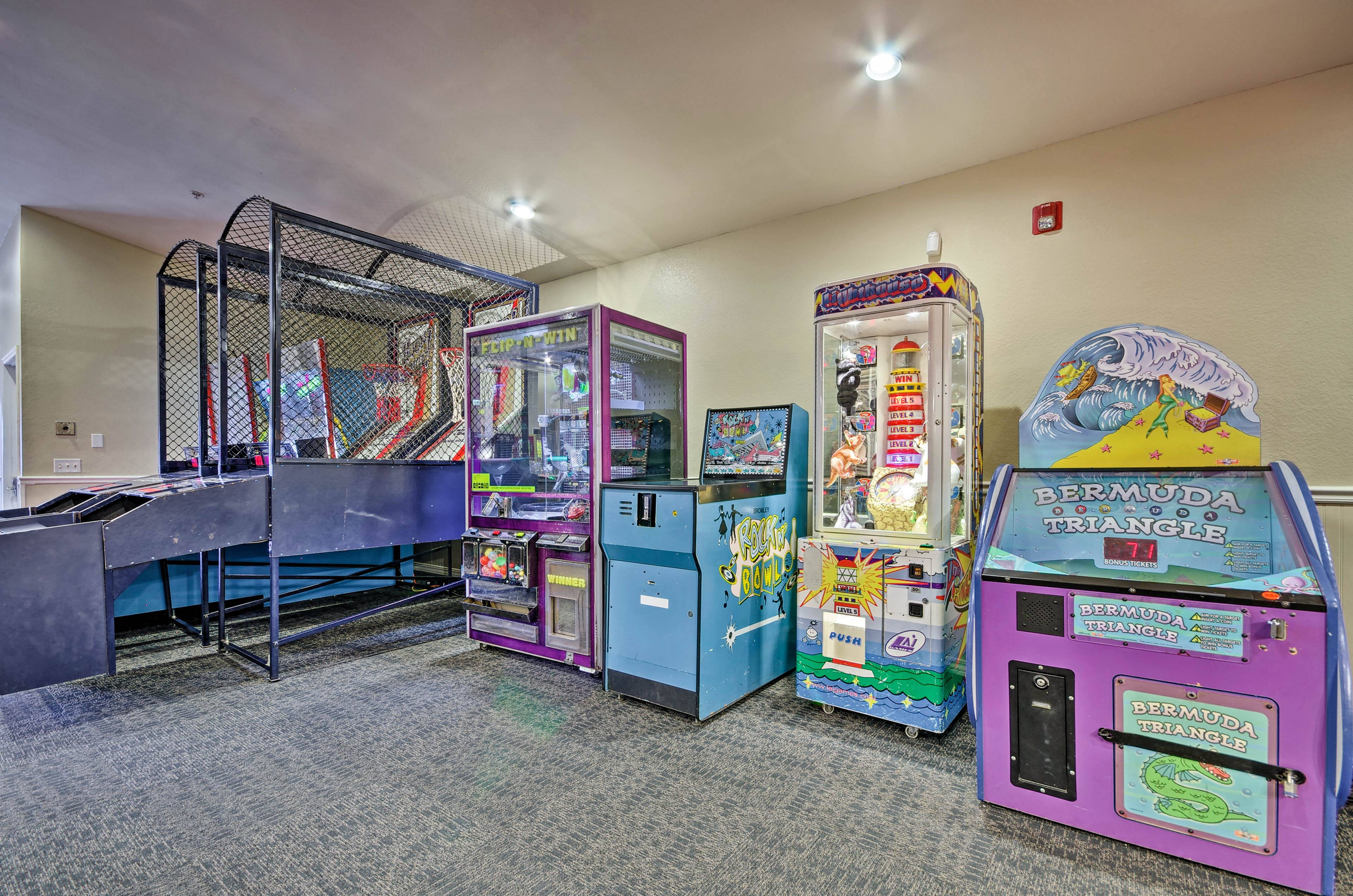 Let the kiddos play in the arcade room.