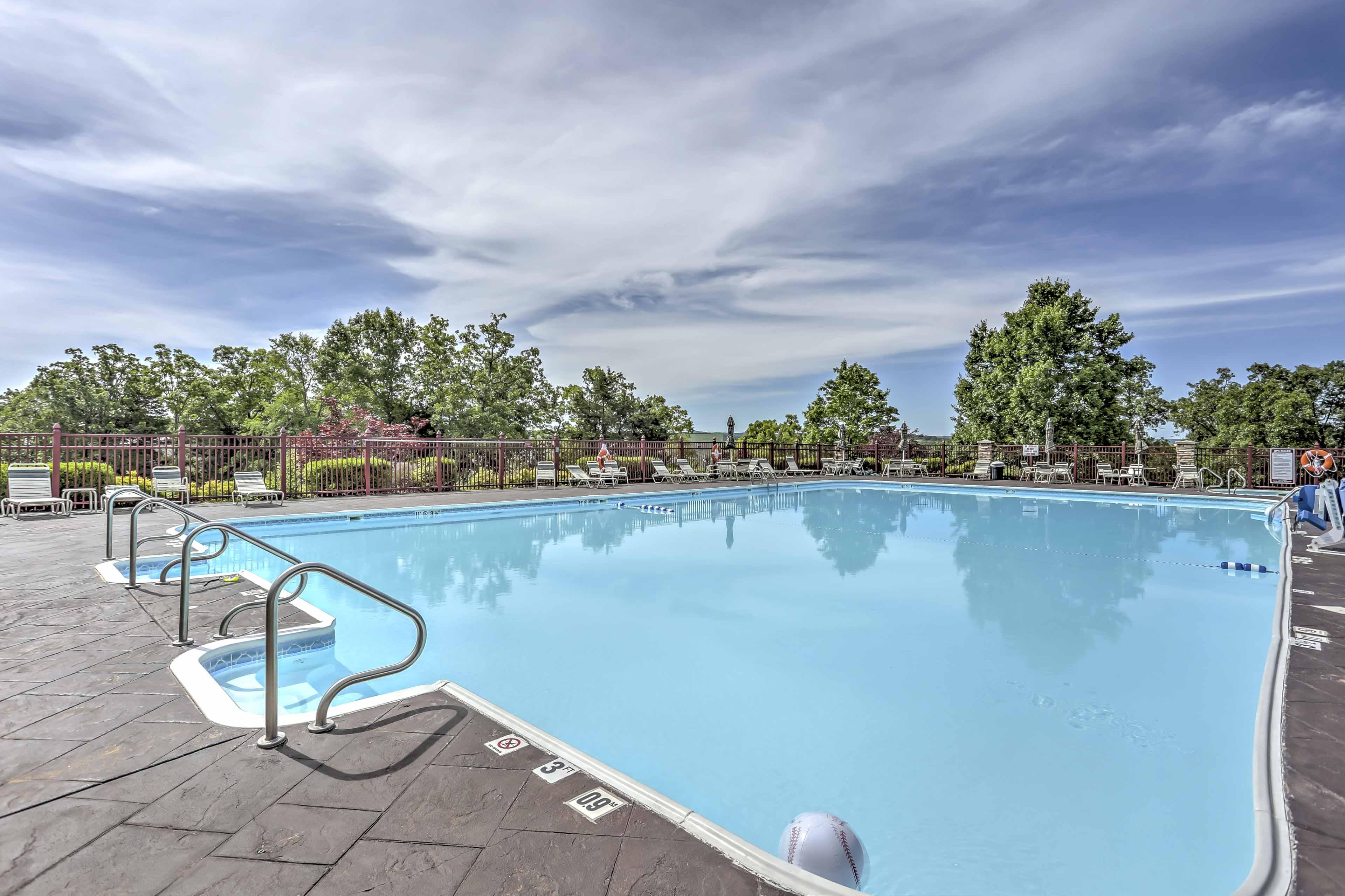 Swim laps in the outdoor pools.
