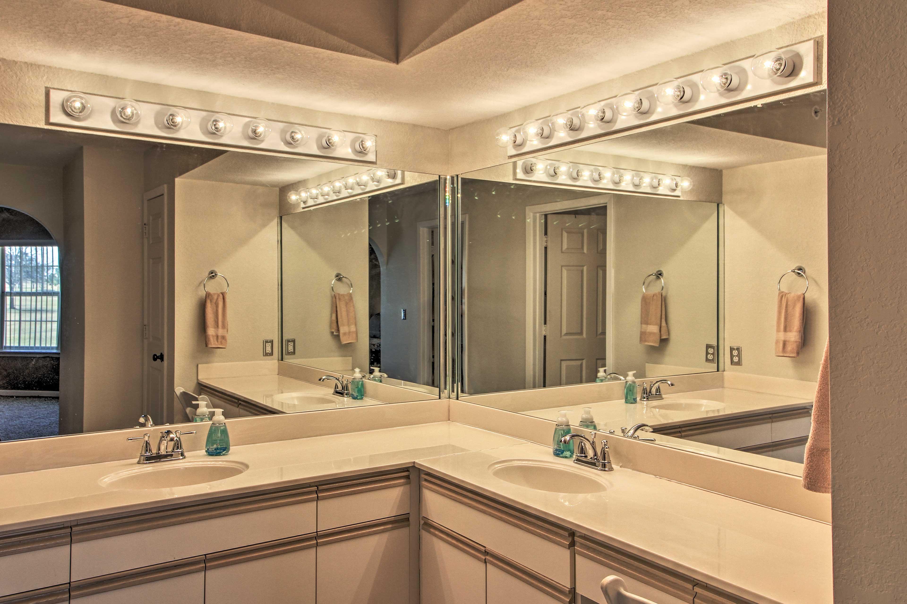 The master bath has plenty of vanity space.